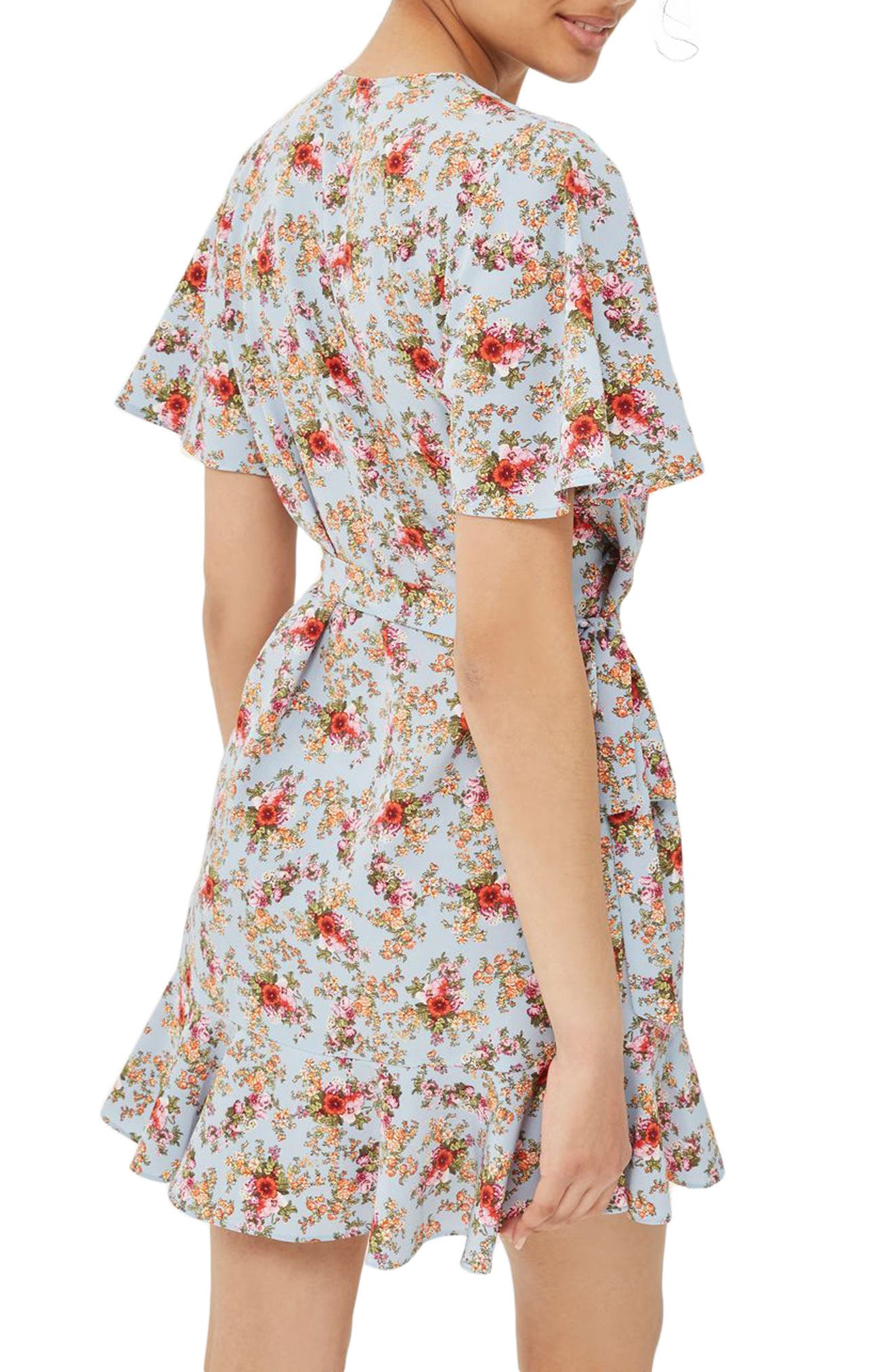Alternate Image 2  - Topshop Confetti Floral Wrap Tea Dress