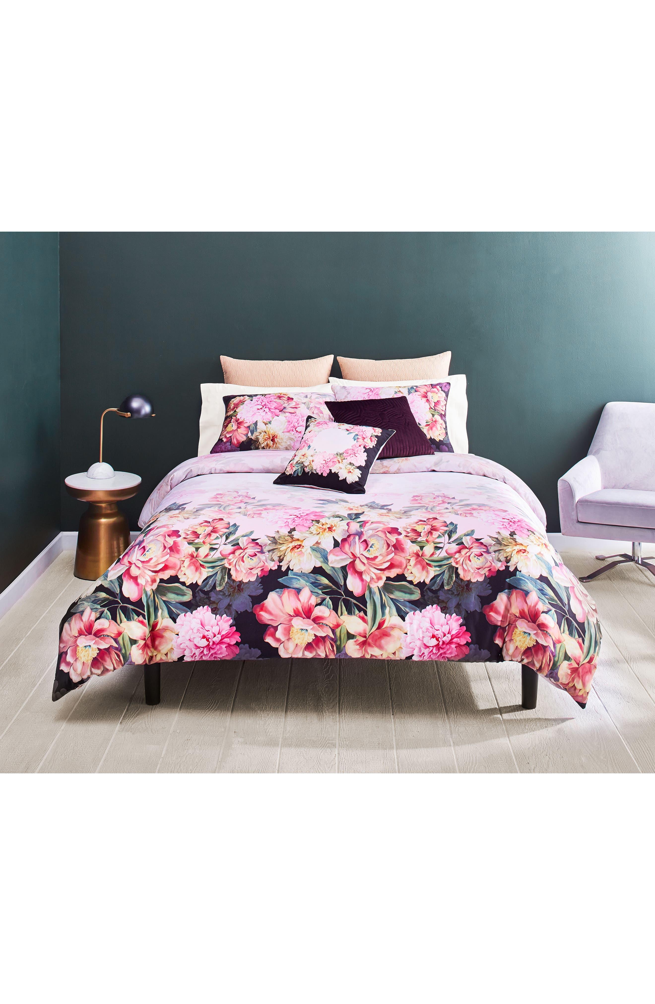 Painted Posie Duvet Cover & Sham Set,                         Main,                         color, Pink/ Multi