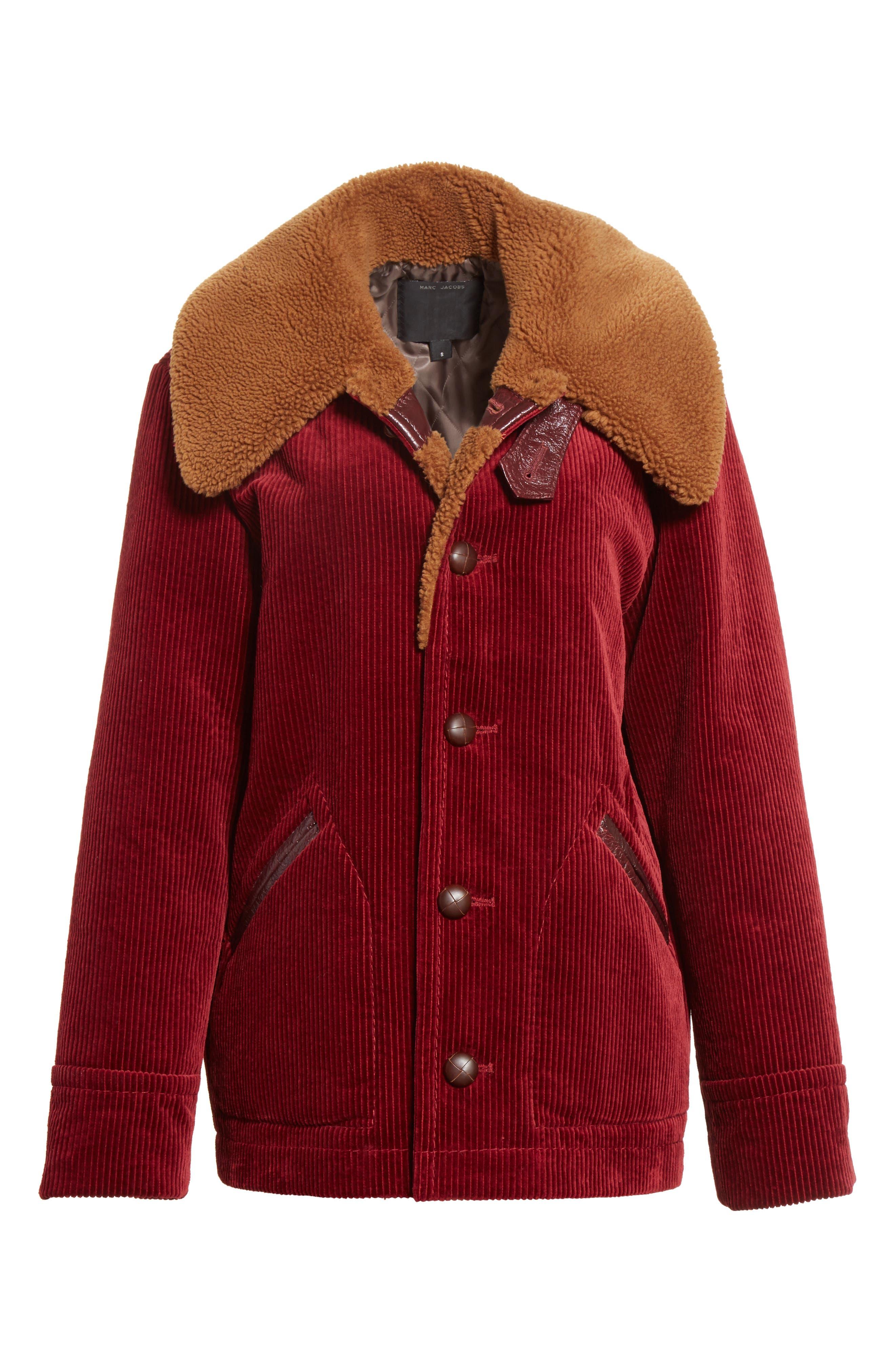 Corduroy Coat with Faux Shearling Collar,                             Alternate thumbnail 7, color,                             Bordeaux