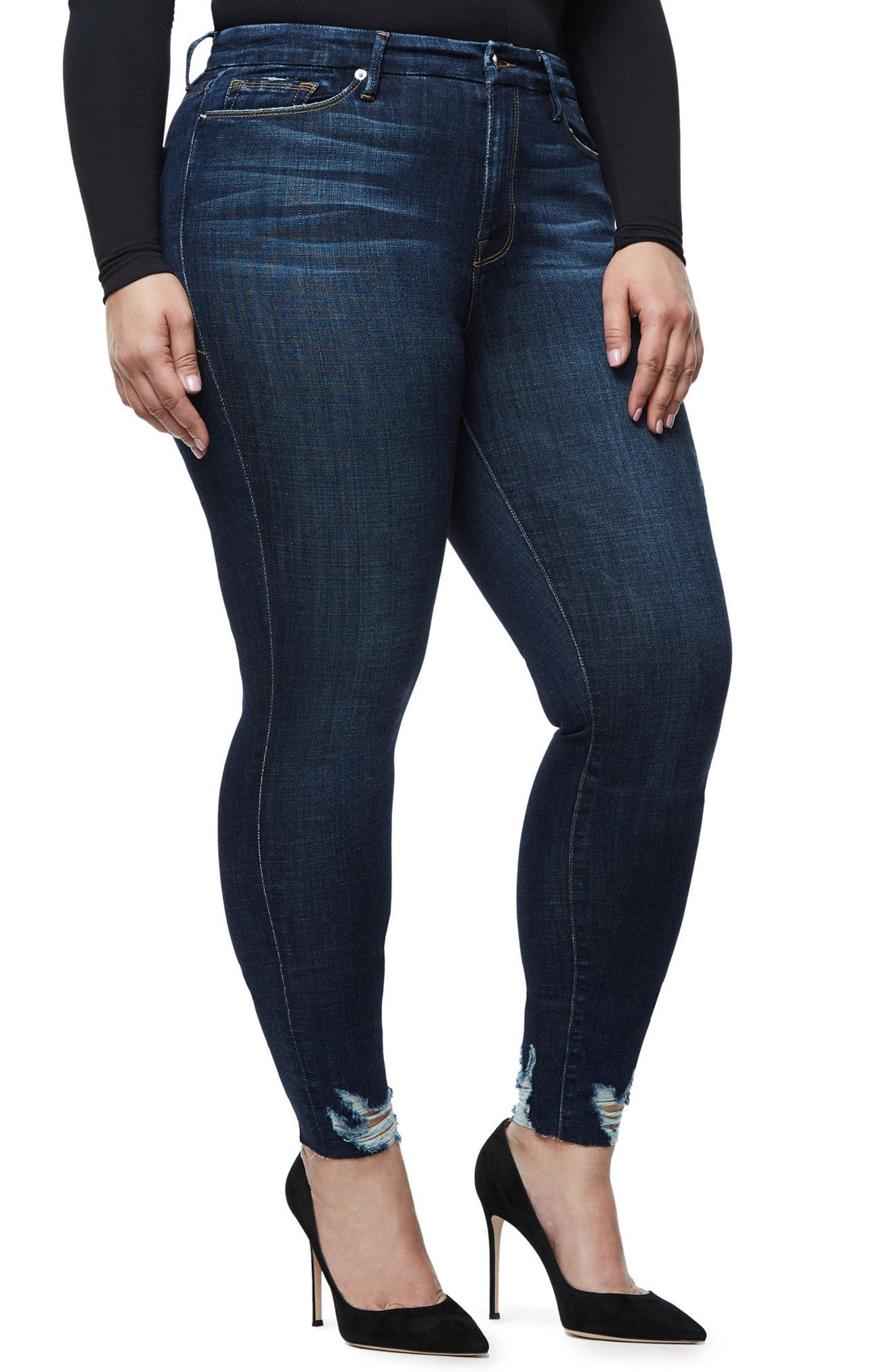 Alternate Image 6  - Good American Good Legs Raw Hem Skinny Jeans (Blue 080) (Extended Sizes)