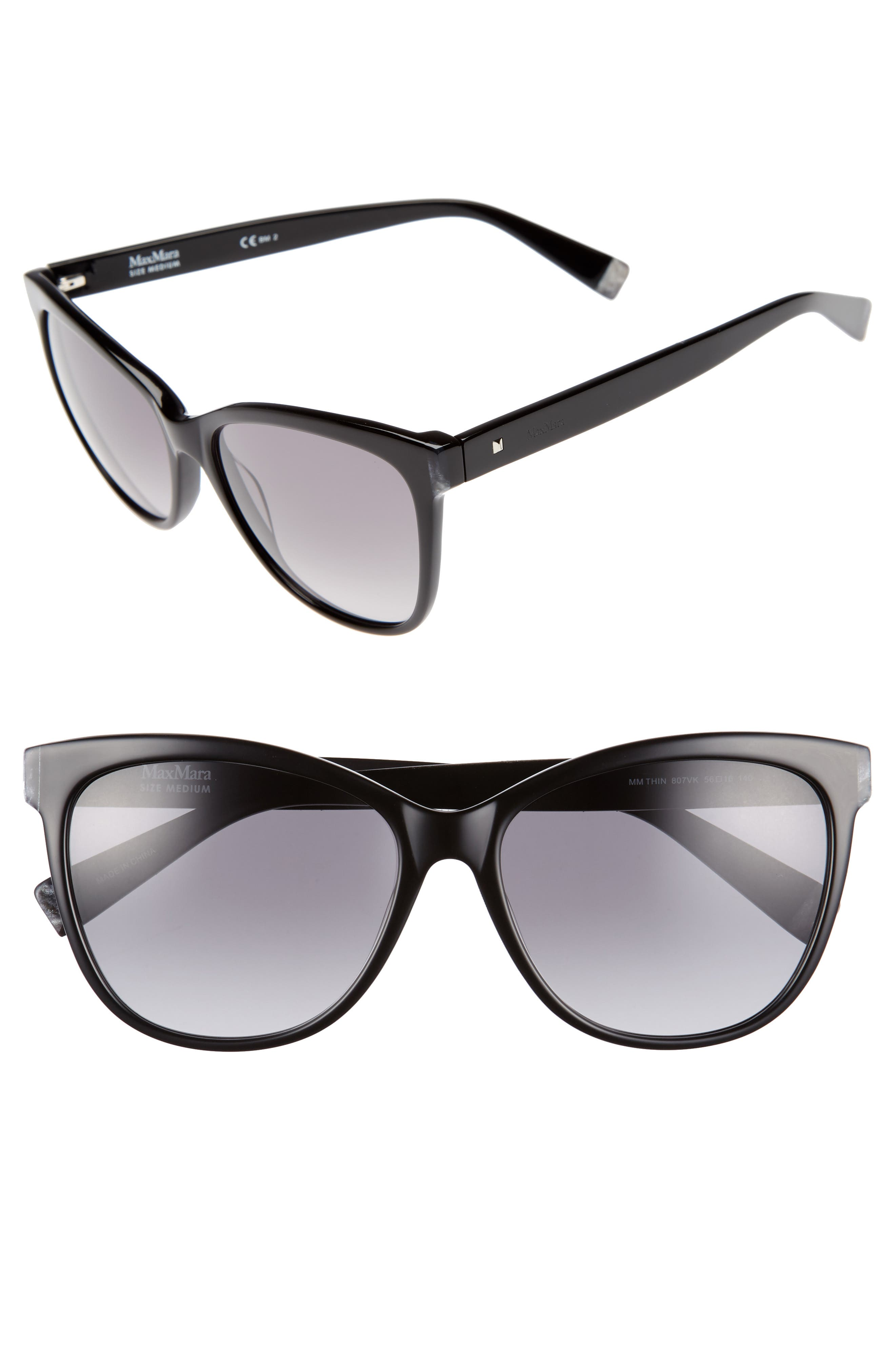 Thins 56mm Gradient Cat Eye Sunglasses,                         Main,                         color, Black