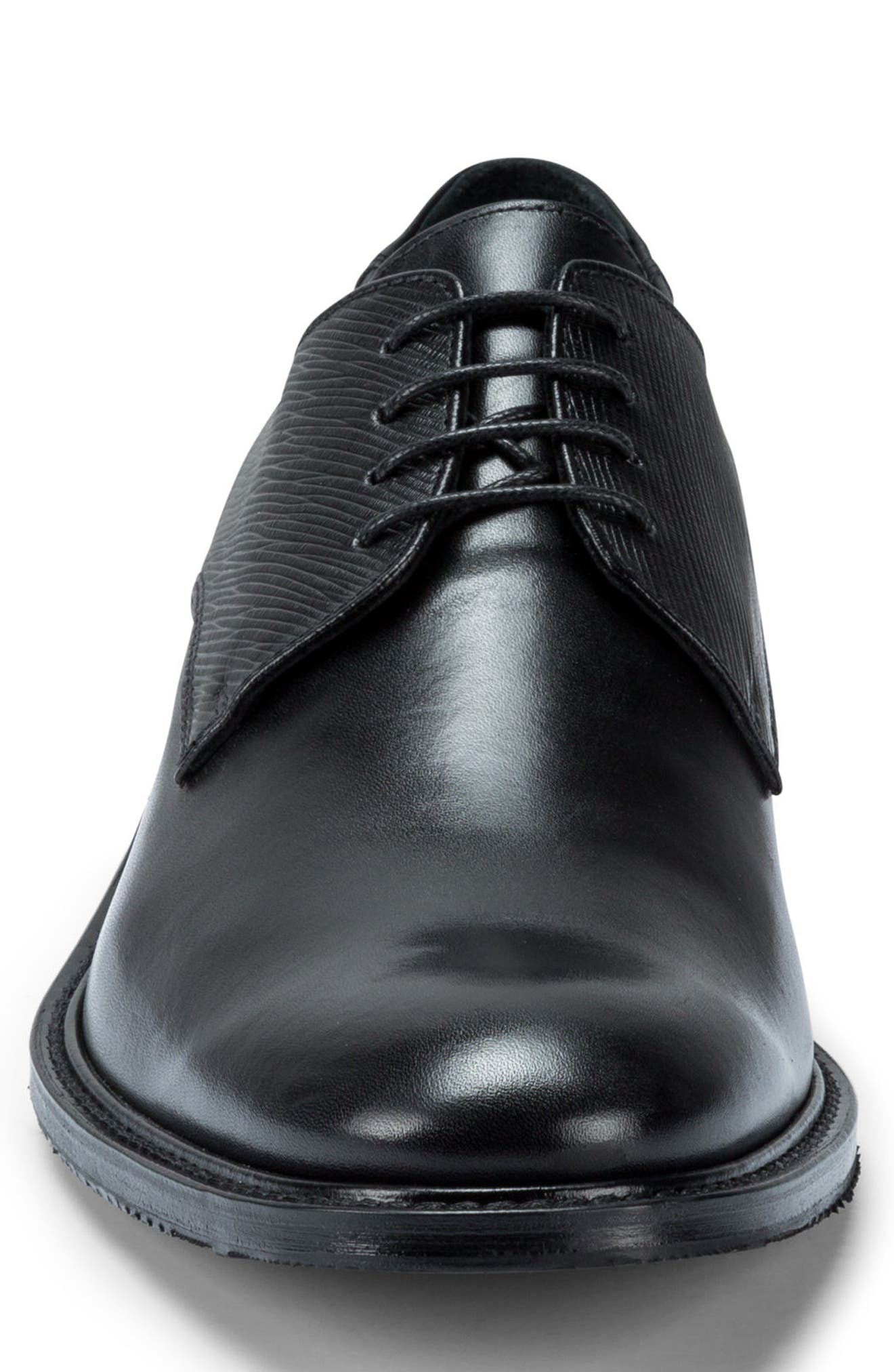 Sorrento Plain Toe Derby,                             Alternate thumbnail 4, color,                             Nero Leather