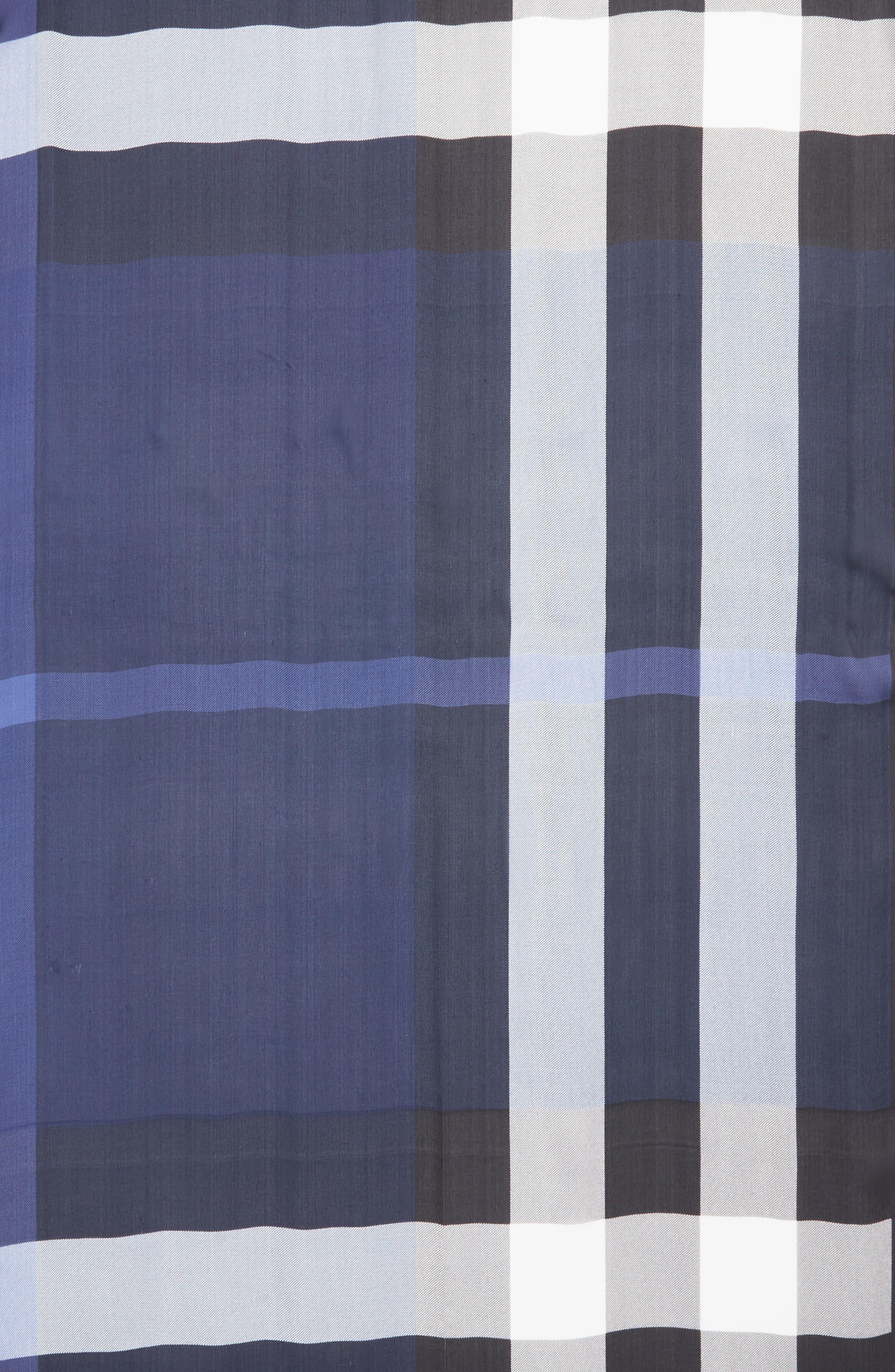 Mega Check Silk Scarf,                             Alternate thumbnail 3, color,                             Indigo Blue