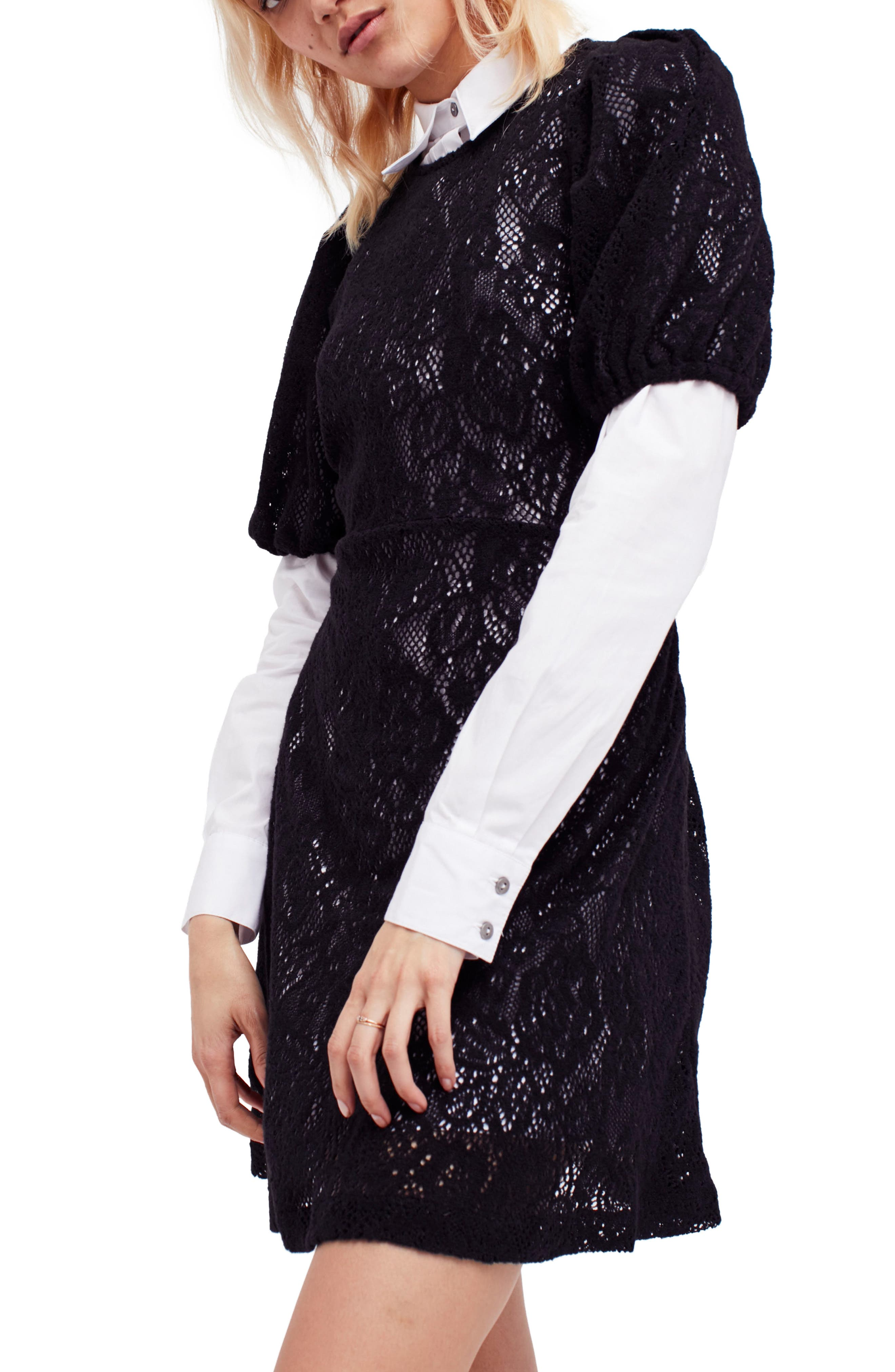 Pretty Princess Dress Shirtdress with Lace Overlay,                         Main,                         color, Black Combo