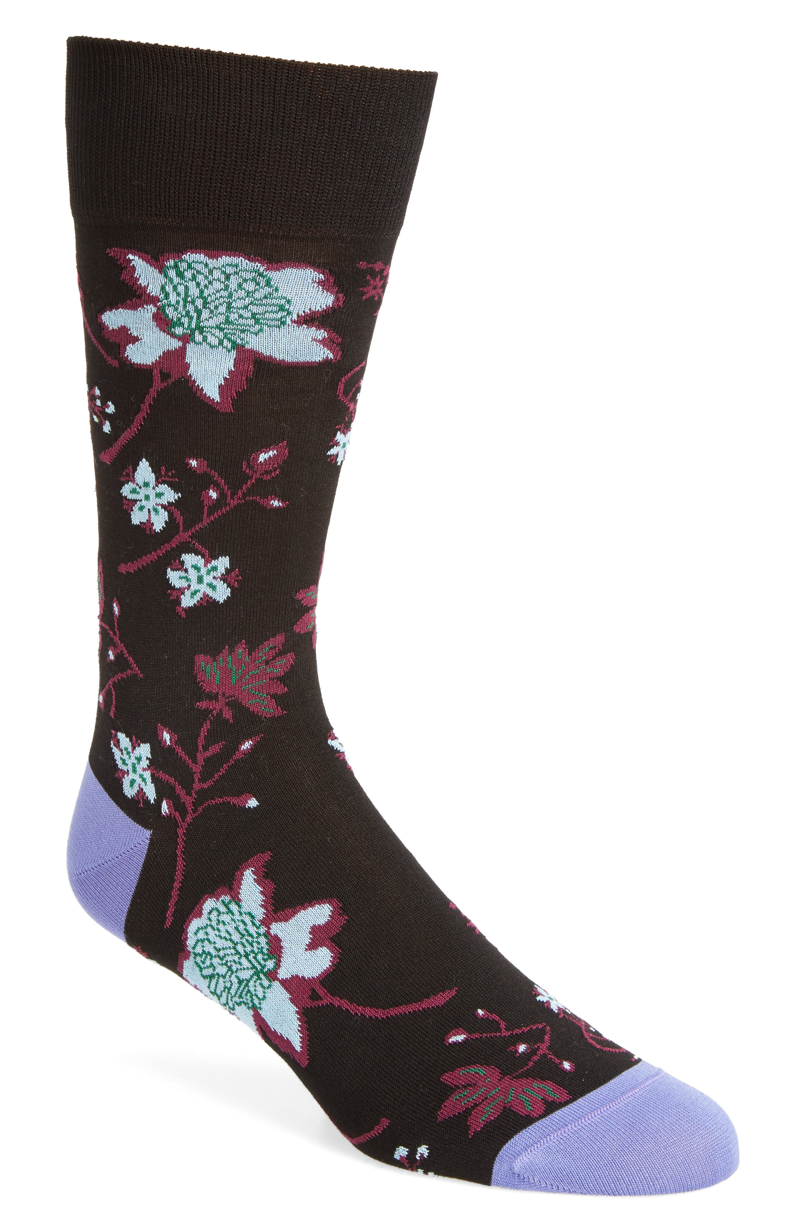 Floral Crew Socks,                         Main,                         color, Midnight