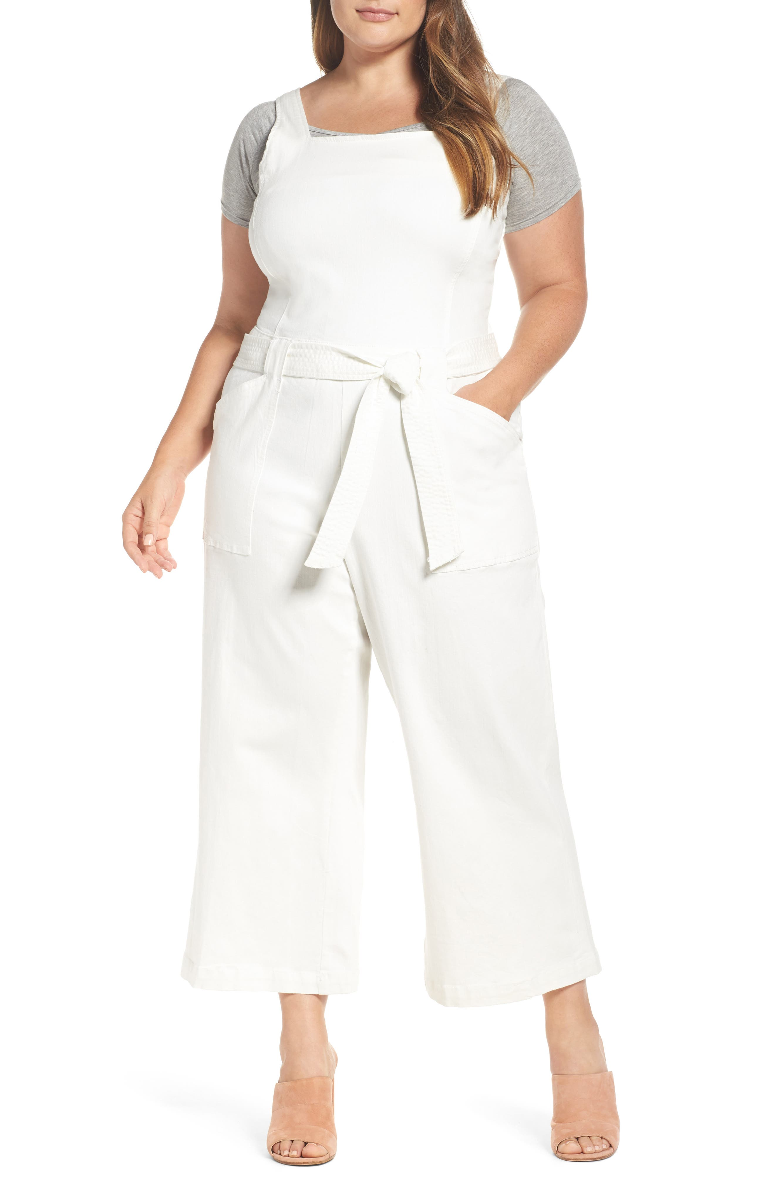 Belted Overalls,                         Main,                         color, Rinse White