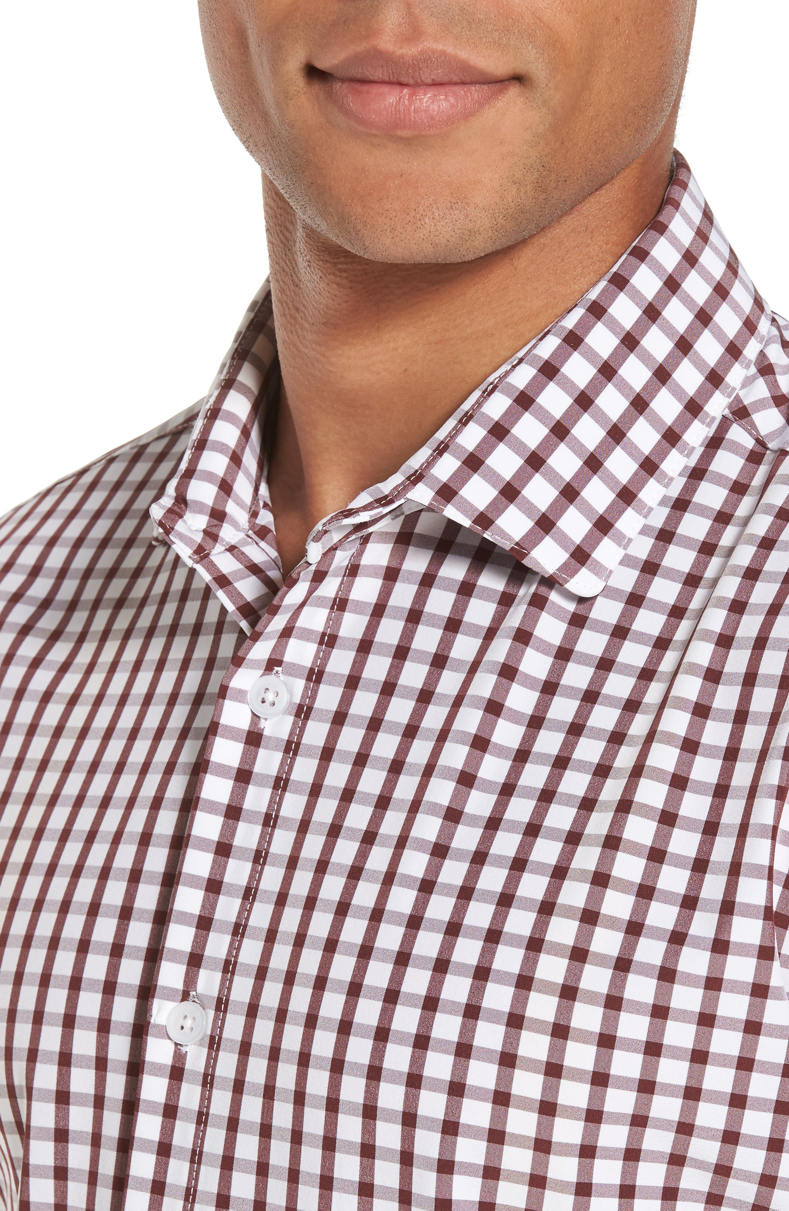 Cooper Check Performance Sport Shirt,                             Alternate thumbnail 4, color,                             Red