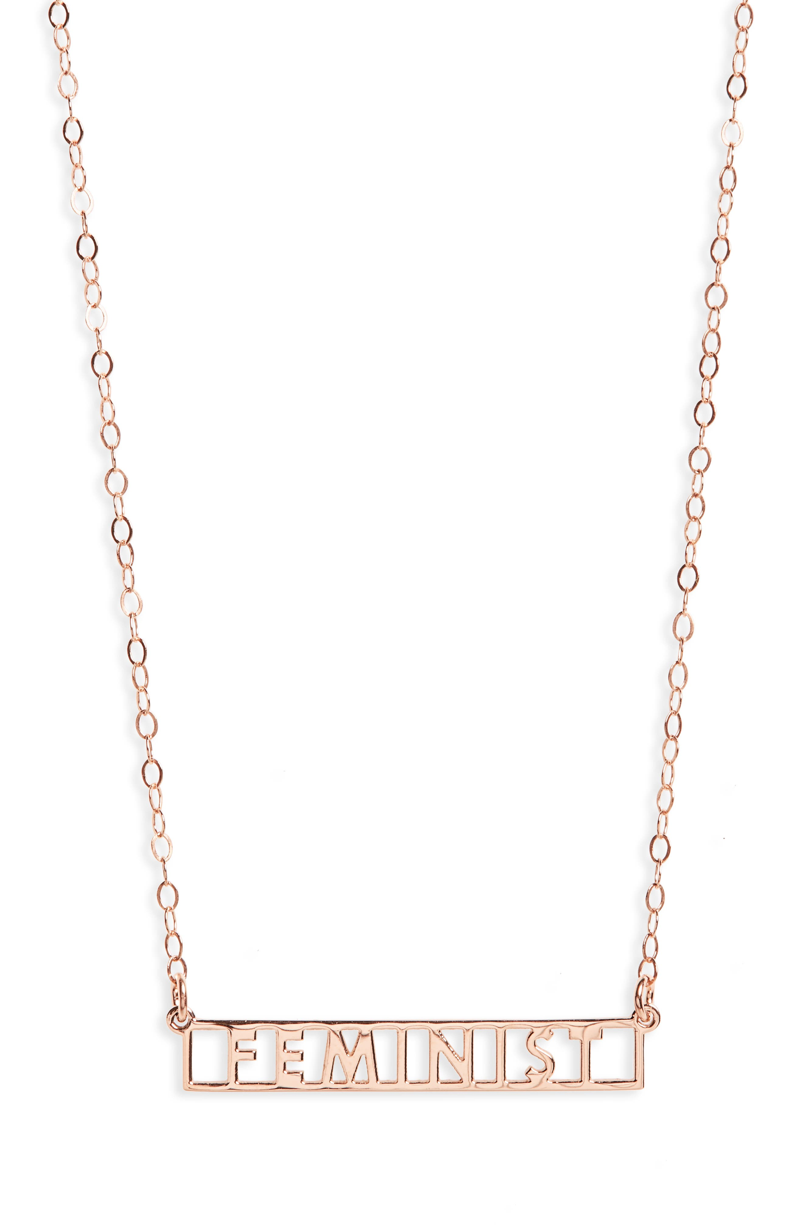 Feminist Necklace,                             Main thumbnail 1, color,                             Rose Gold