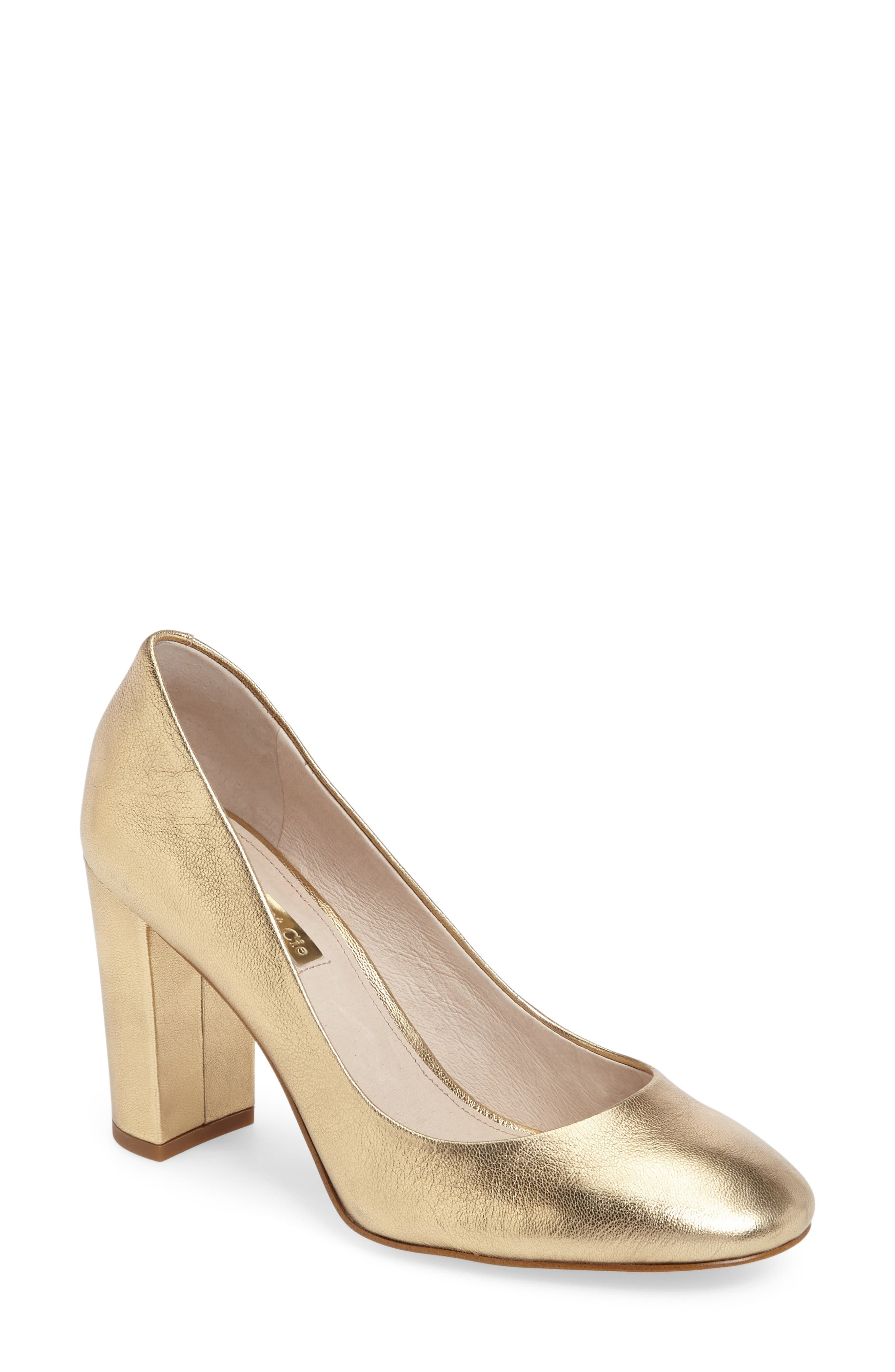 Jianna Stacked Heel Pump,                             Main thumbnail 1, color,                             Gilded Gold Leather