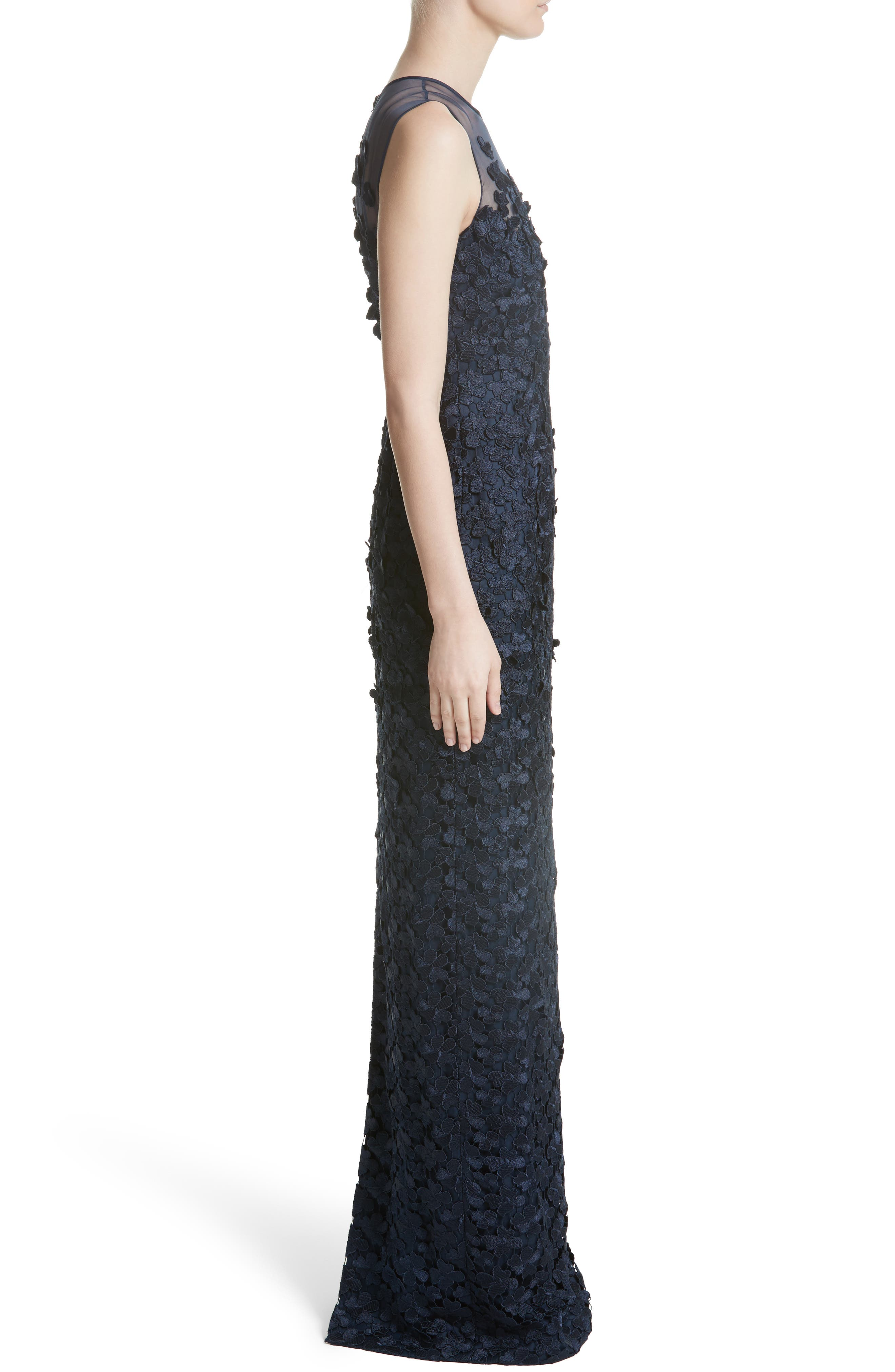 Alternate Image 4  - Carmen Marc Valvo Floral Lace Column Gown