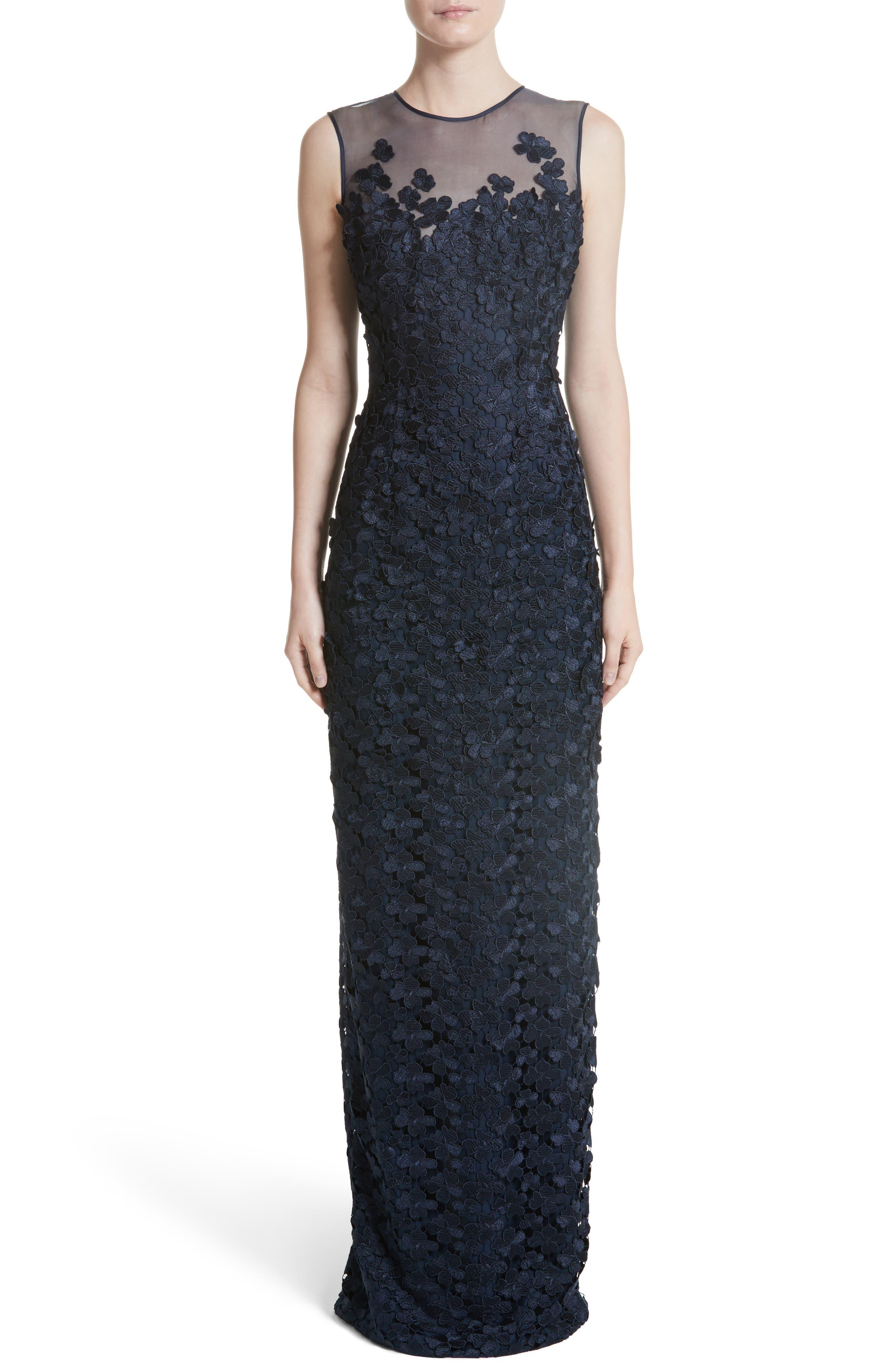Main Image - Carmen Marc Valvo Floral Lace Column Gown