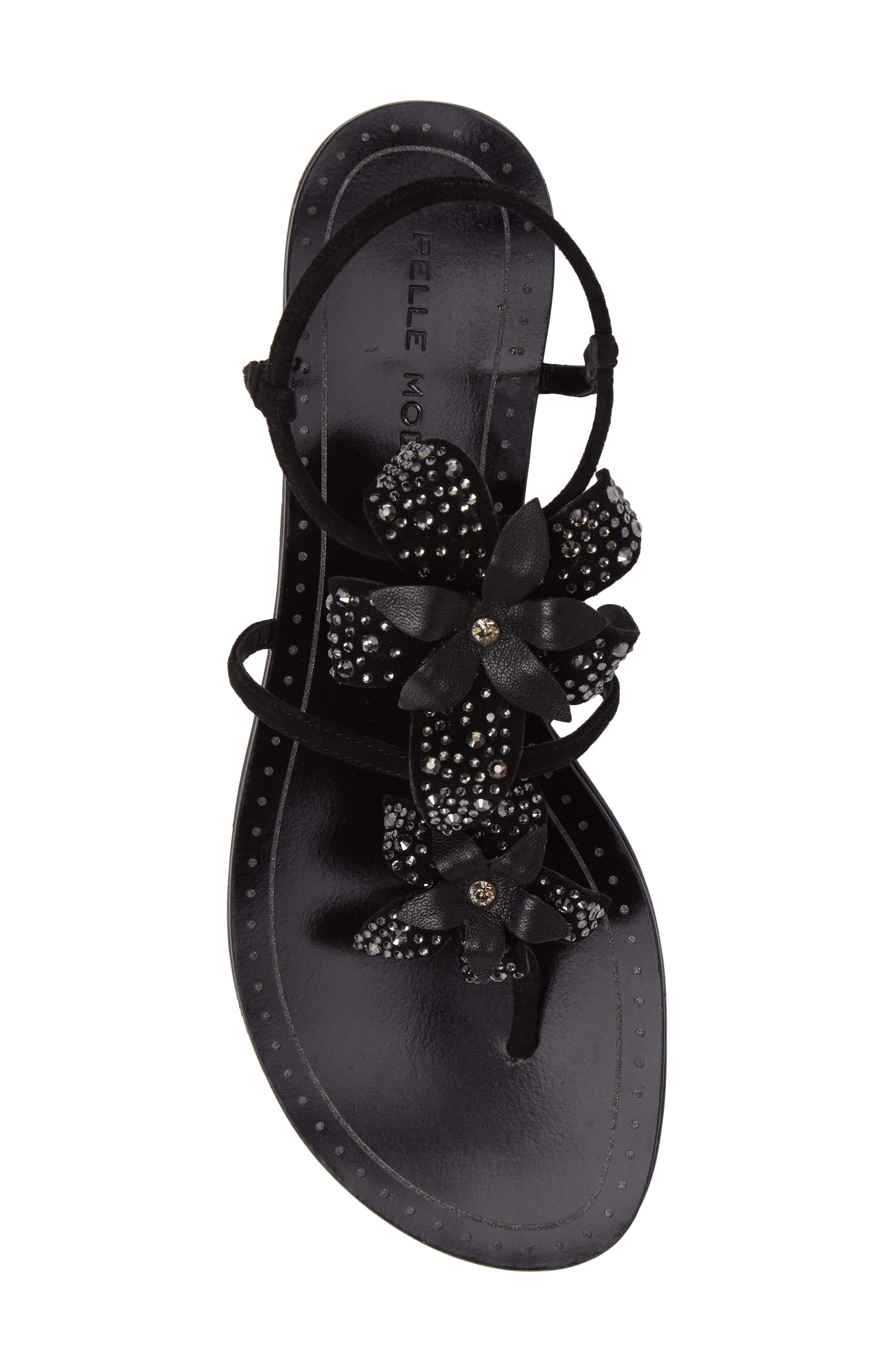 Ellis Strappy Flowered Sandal,                             Alternate thumbnail 5, color,                             Black Leather