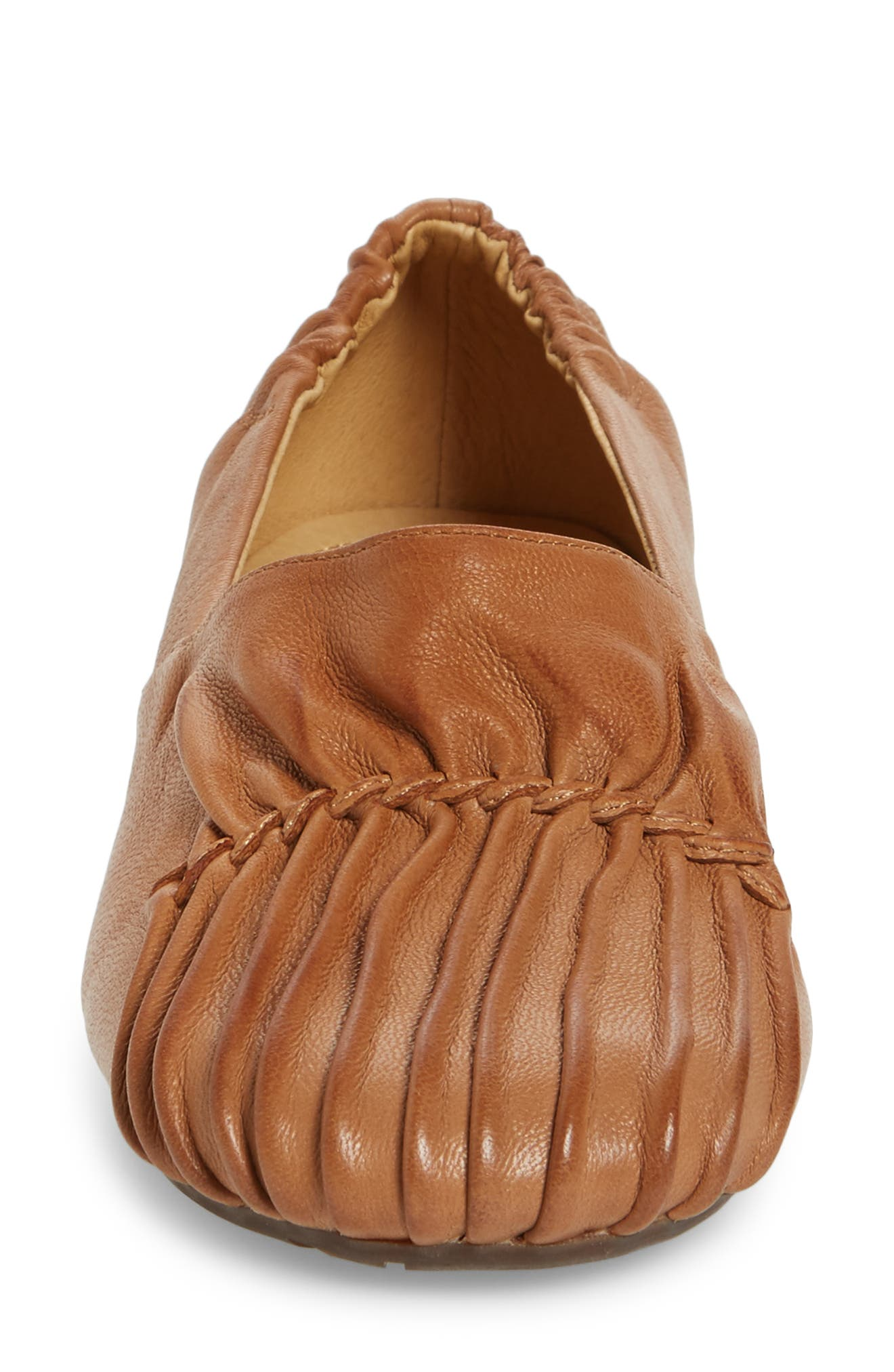 Vic Low Pleated Wedge,                             Alternate thumbnail 4, color,                             Camel Leather