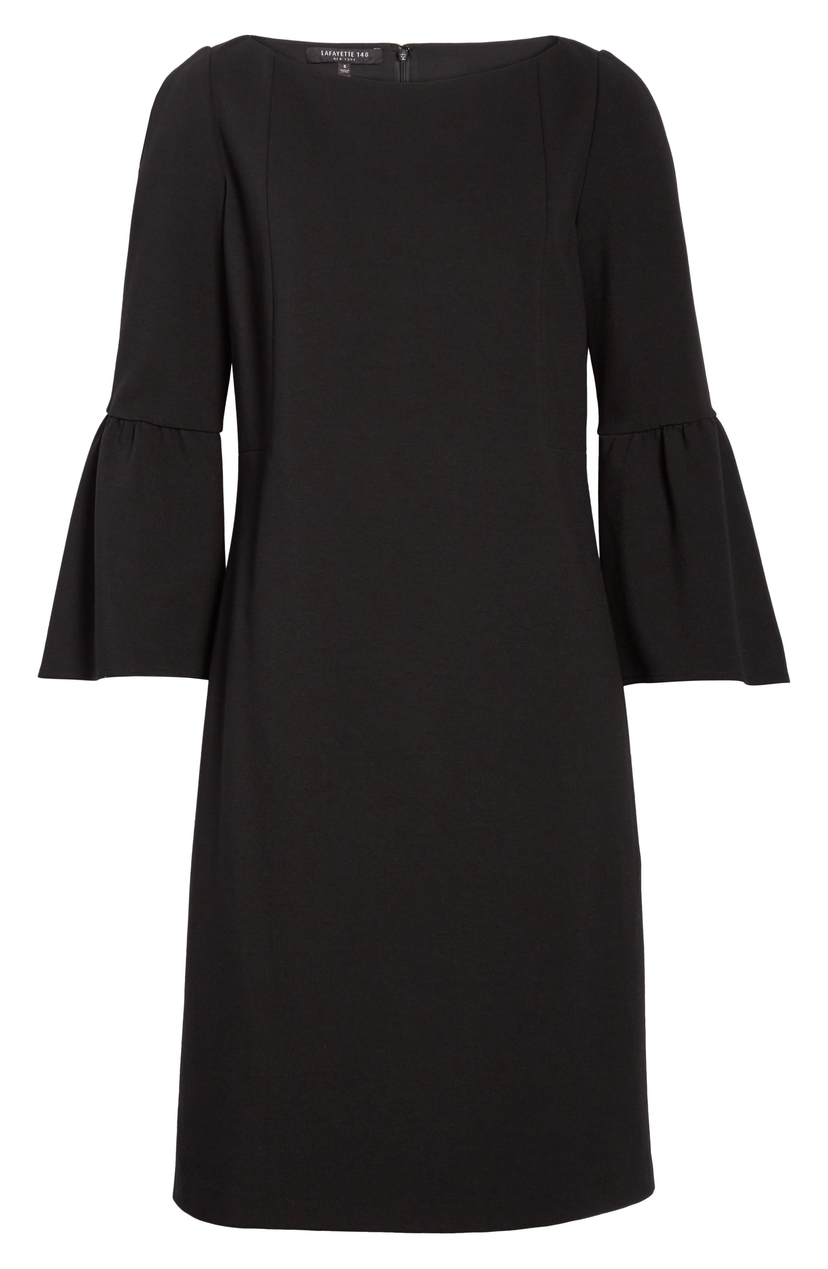 Marissa Punto Milano Dress,                             Alternate thumbnail 6, color,                             Black