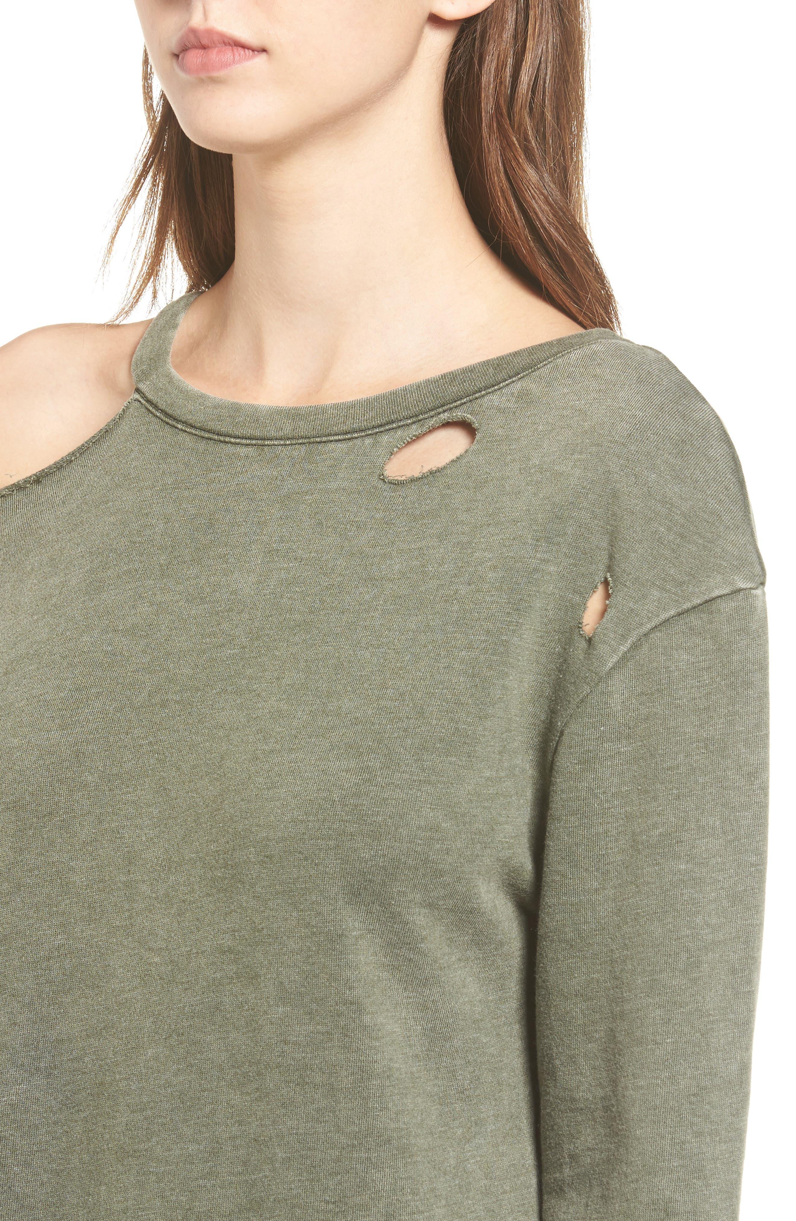 Ripped Sweatshirt Dress,                             Alternate thumbnail 4, color,                             Olive Dark
