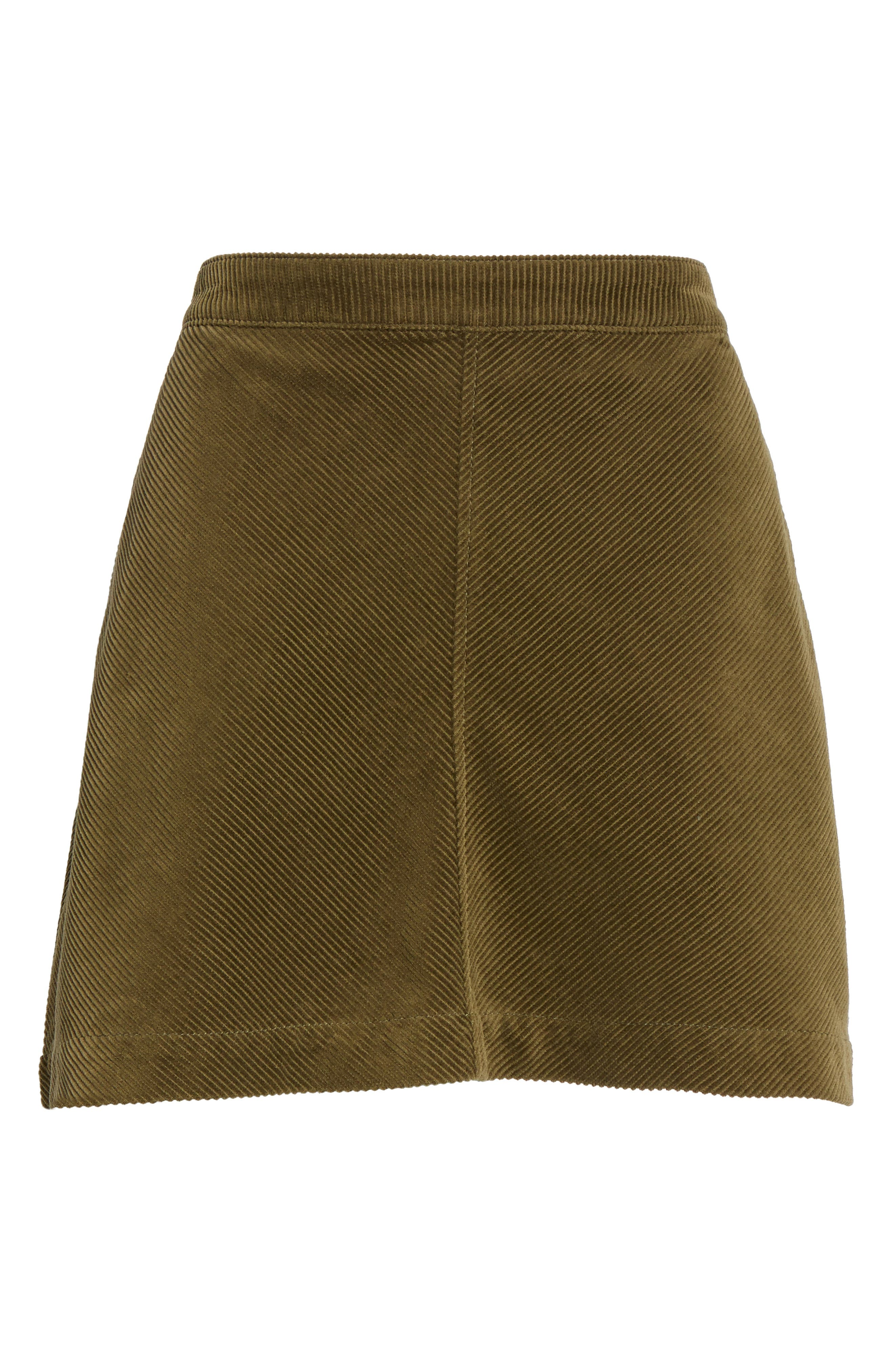 Corduroy A-Line Miniskirt,                             Alternate thumbnail 6, color,                             Olive Dark