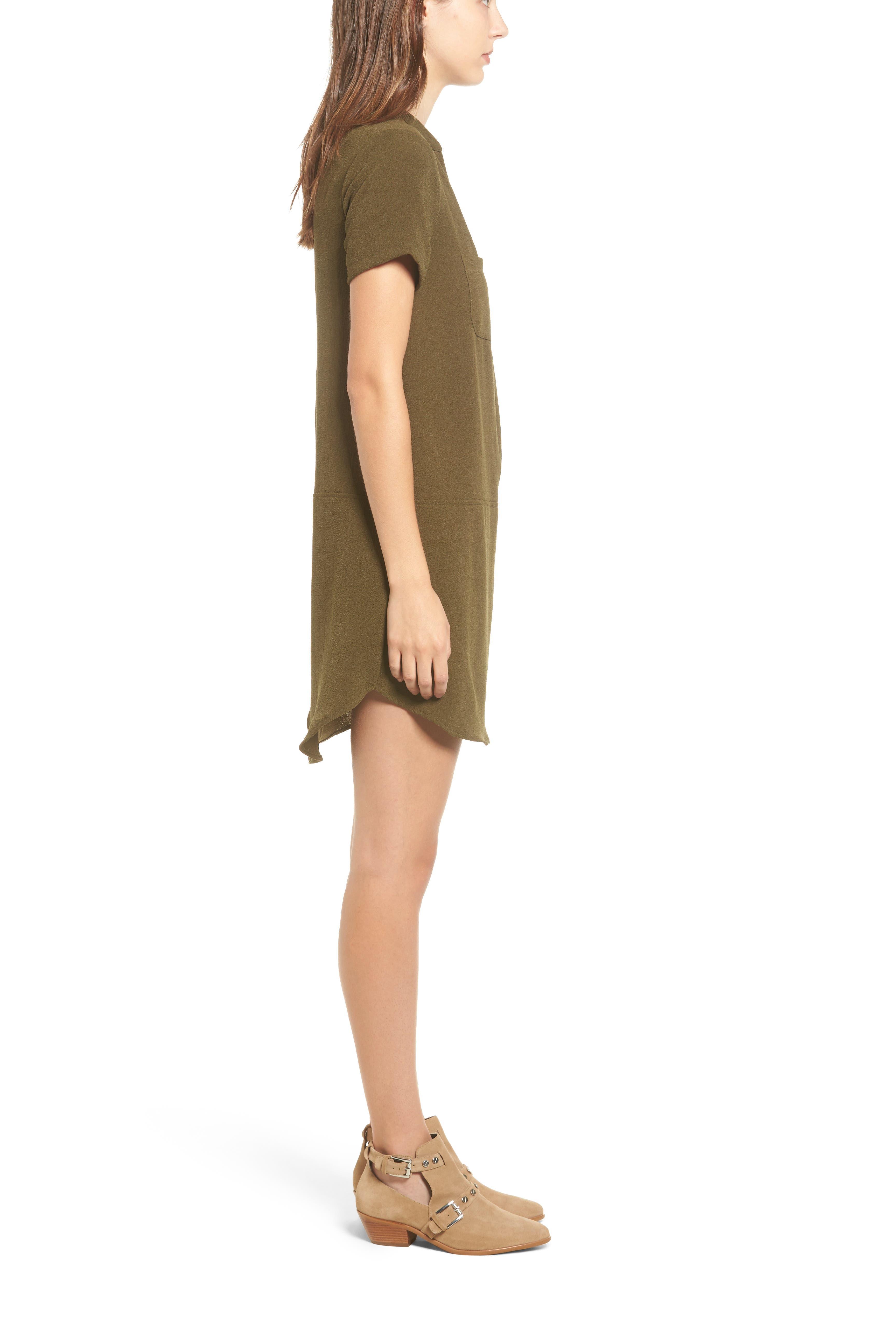 Hailey Crepe Dress,                             Alternate thumbnail 3, color,                             Olive