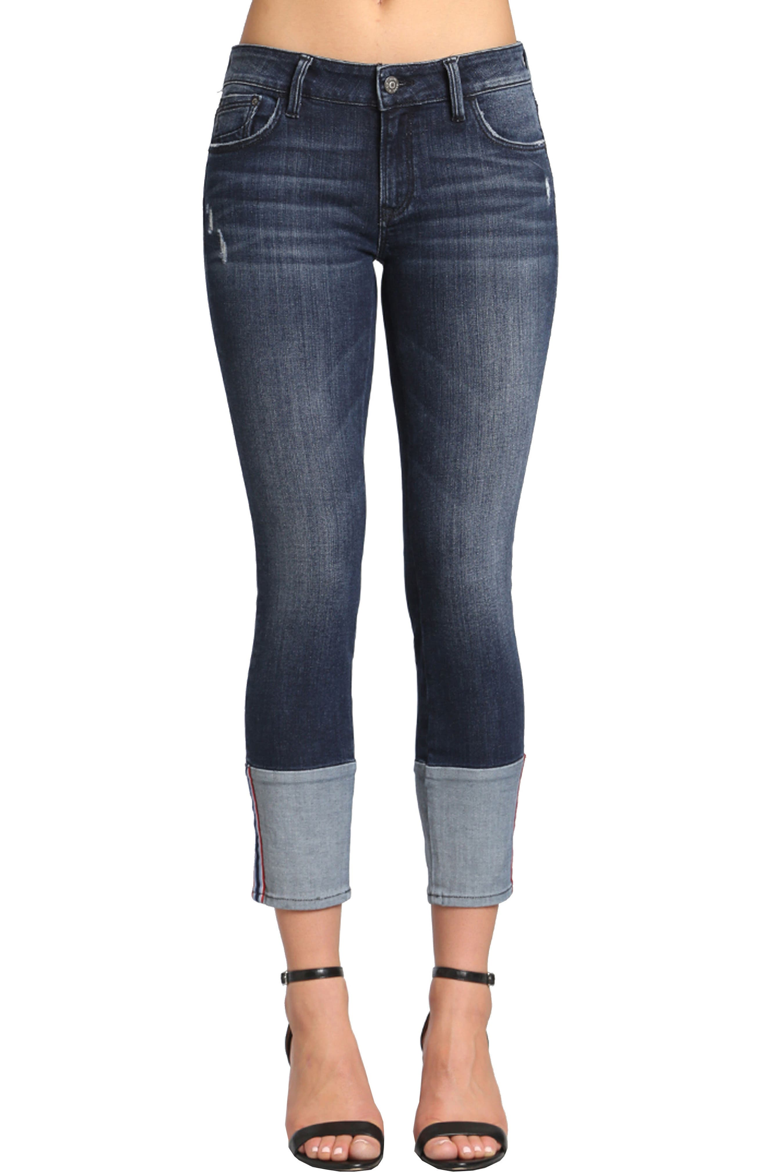 Caisy Cuffed Skinny Crop Jeans,                         Main,                         color, Dark Vintage