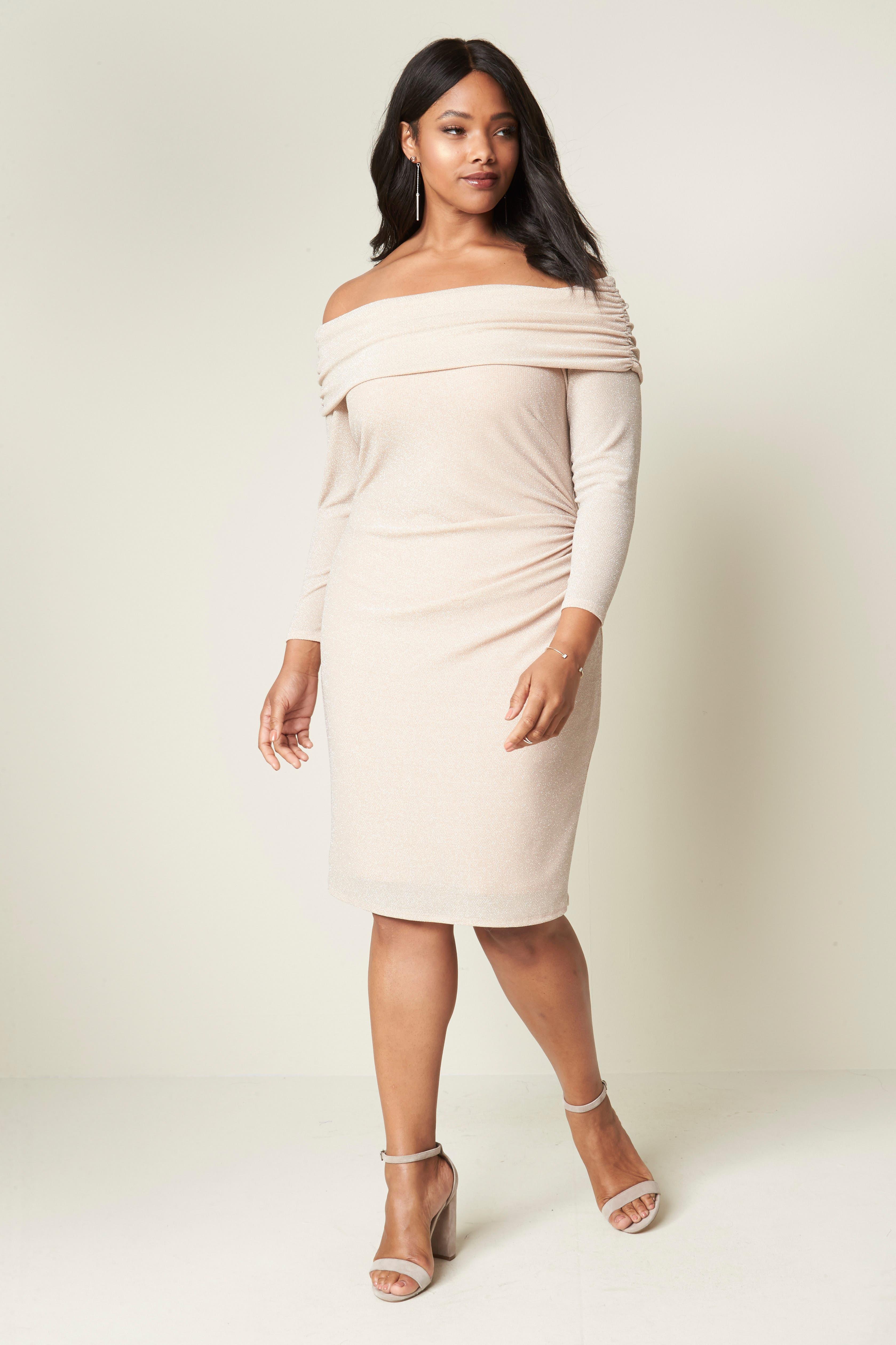Alternate Image 2  - Eliza J Off the Shoulder Metallic Knit Sheath Dress (Plus Size)