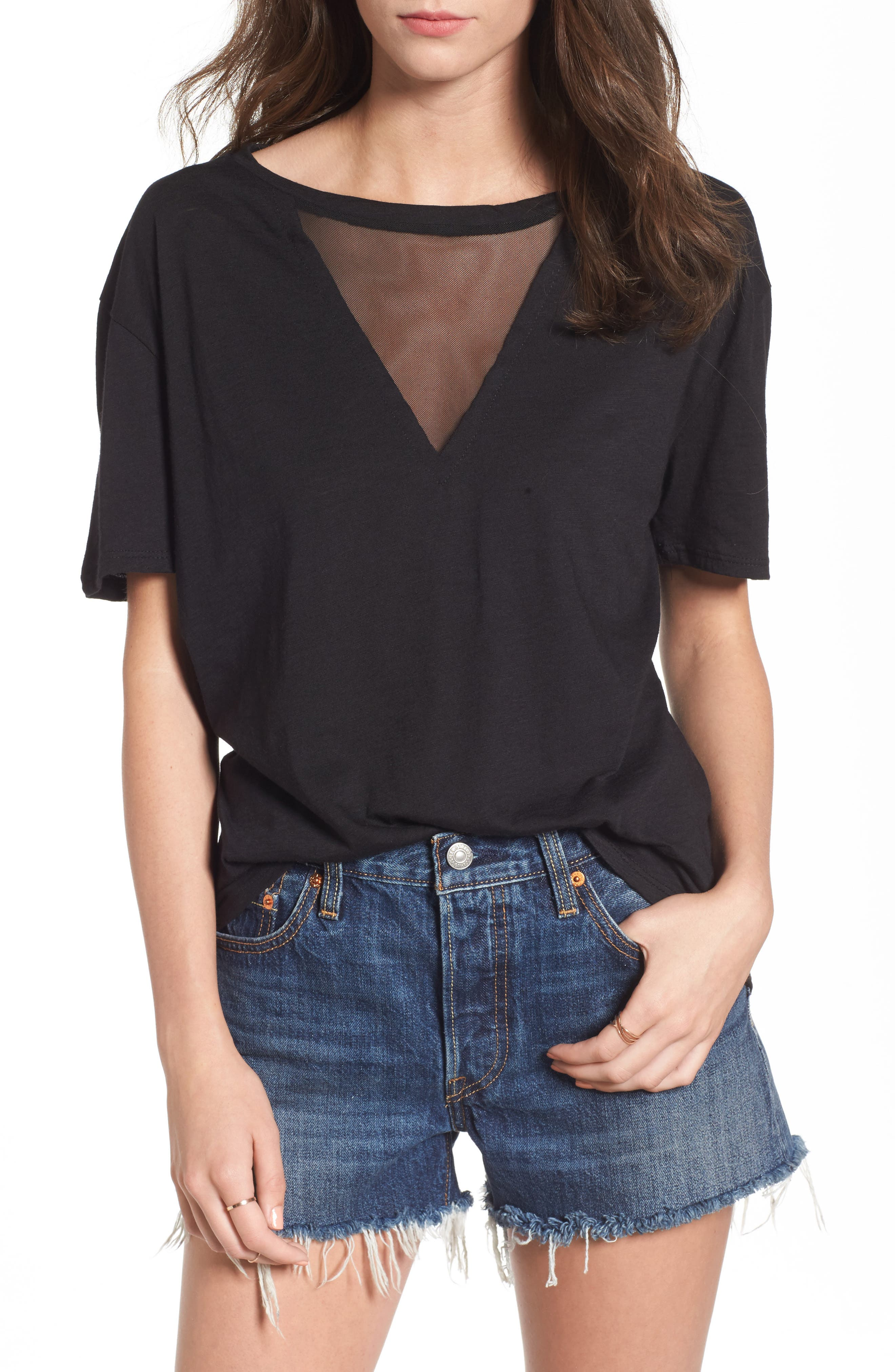 Andrea Mesh Inset Tee,                             Main thumbnail 1, color,                             Black