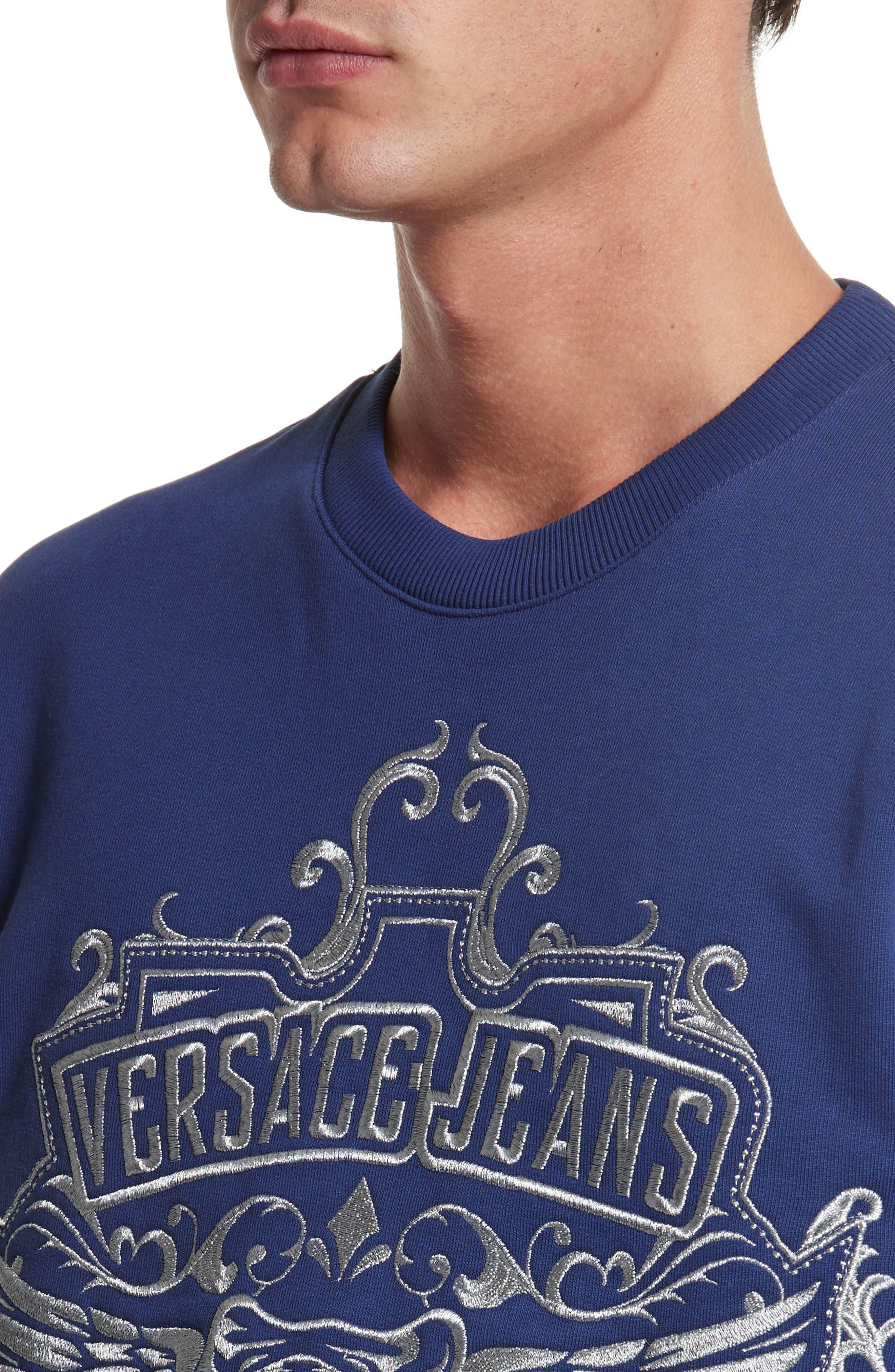 Embroidered Crewneck Sweatshirt,                             Alternate thumbnail 4, color,                             Blue