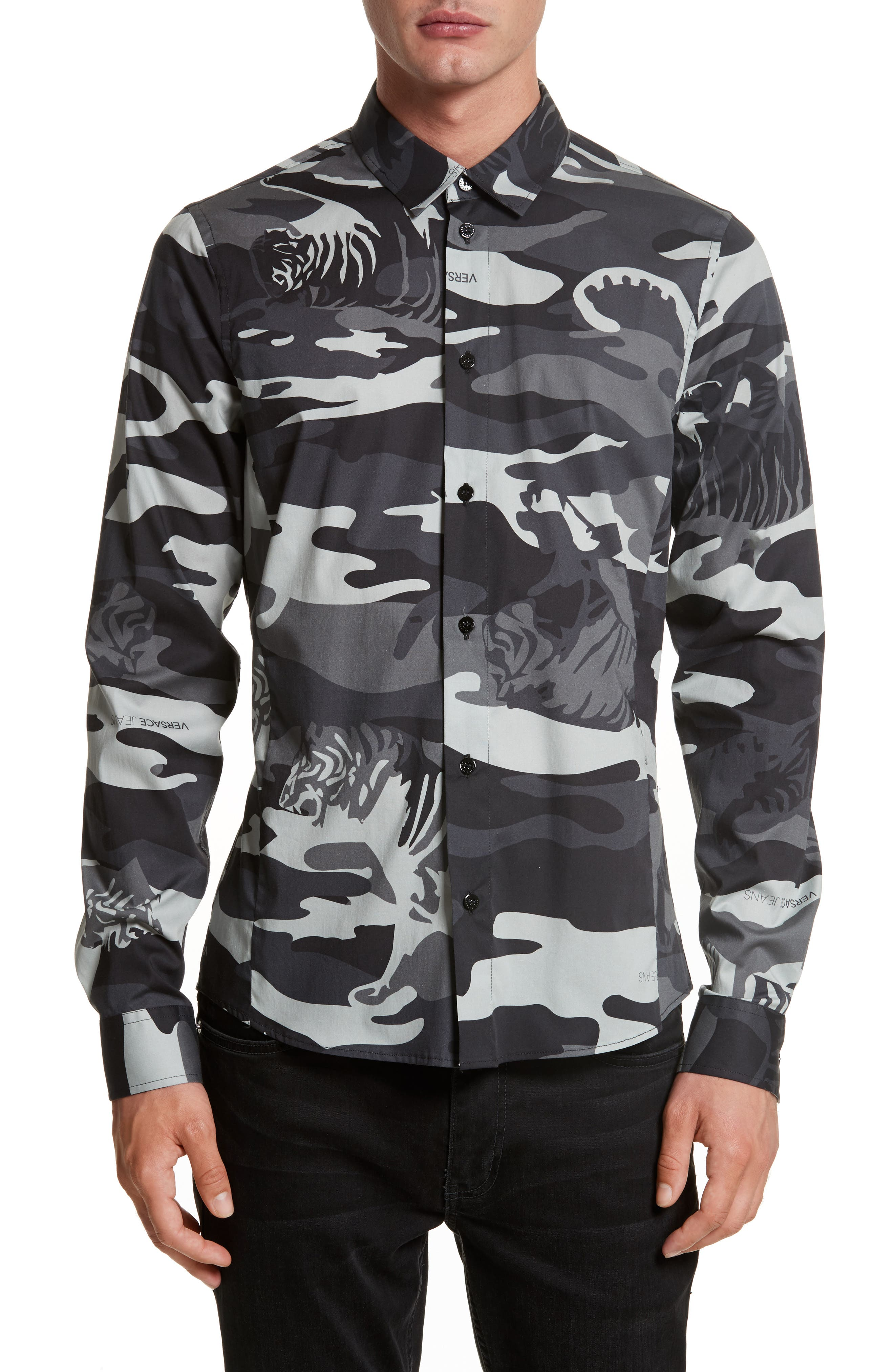 Tiger Camo Print Shirt,                         Main,                         color, Grey