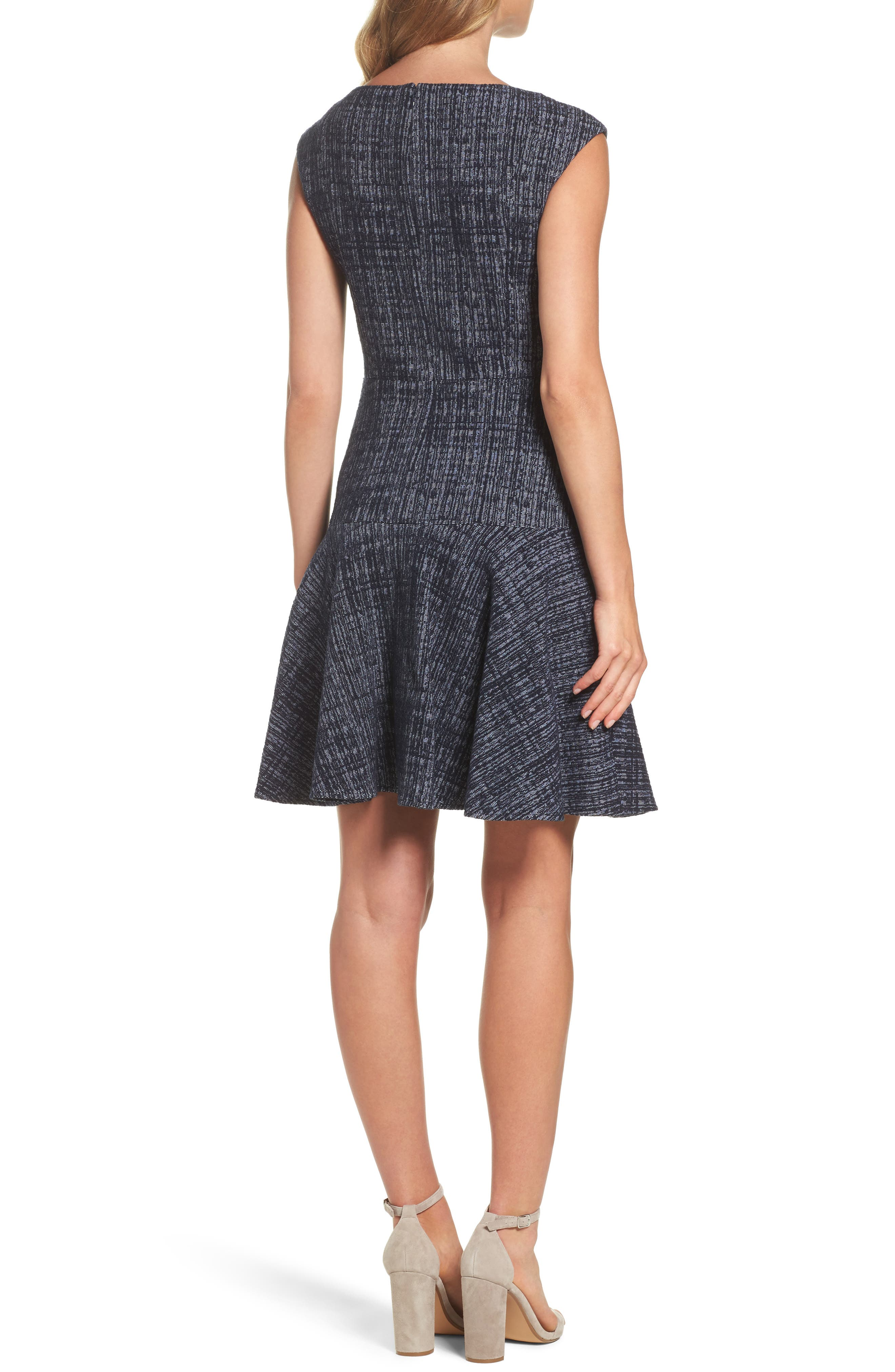 Tweed Fit & Flare Dress,                             Alternate thumbnail 2, color,                             Navy