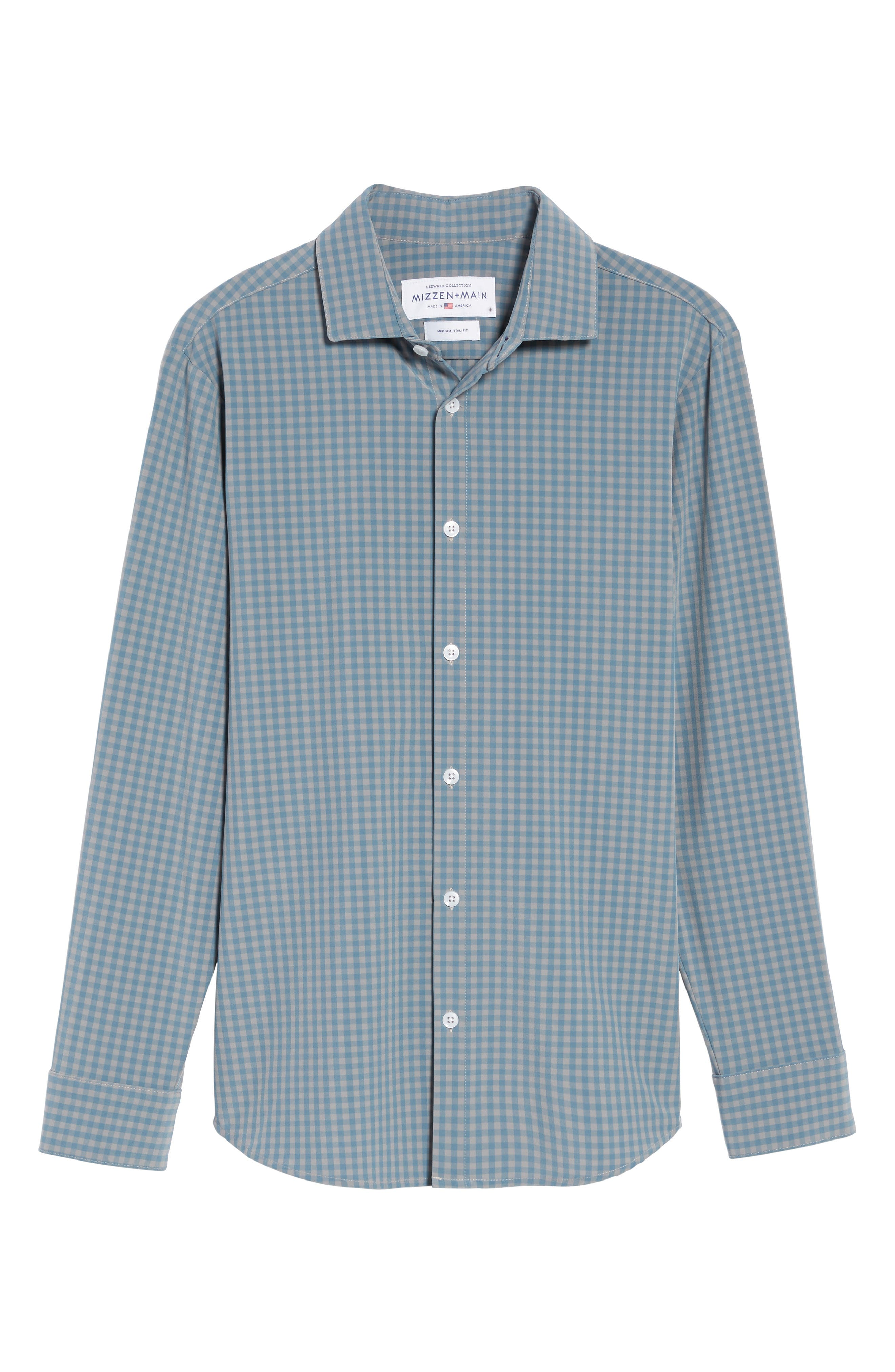 Knox Blue Smoke & Grey Gingham Sport Shirt,                             Alternate thumbnail 6, color,                             Blue