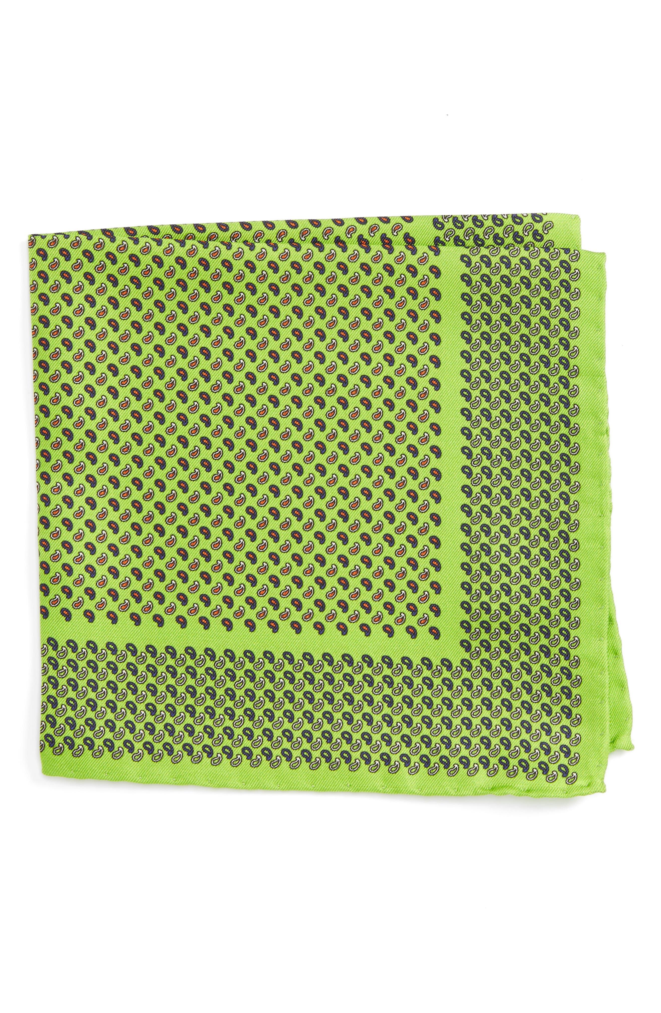 Paisley Silk Pocket Square,                             Main thumbnail 1, color,                             Green