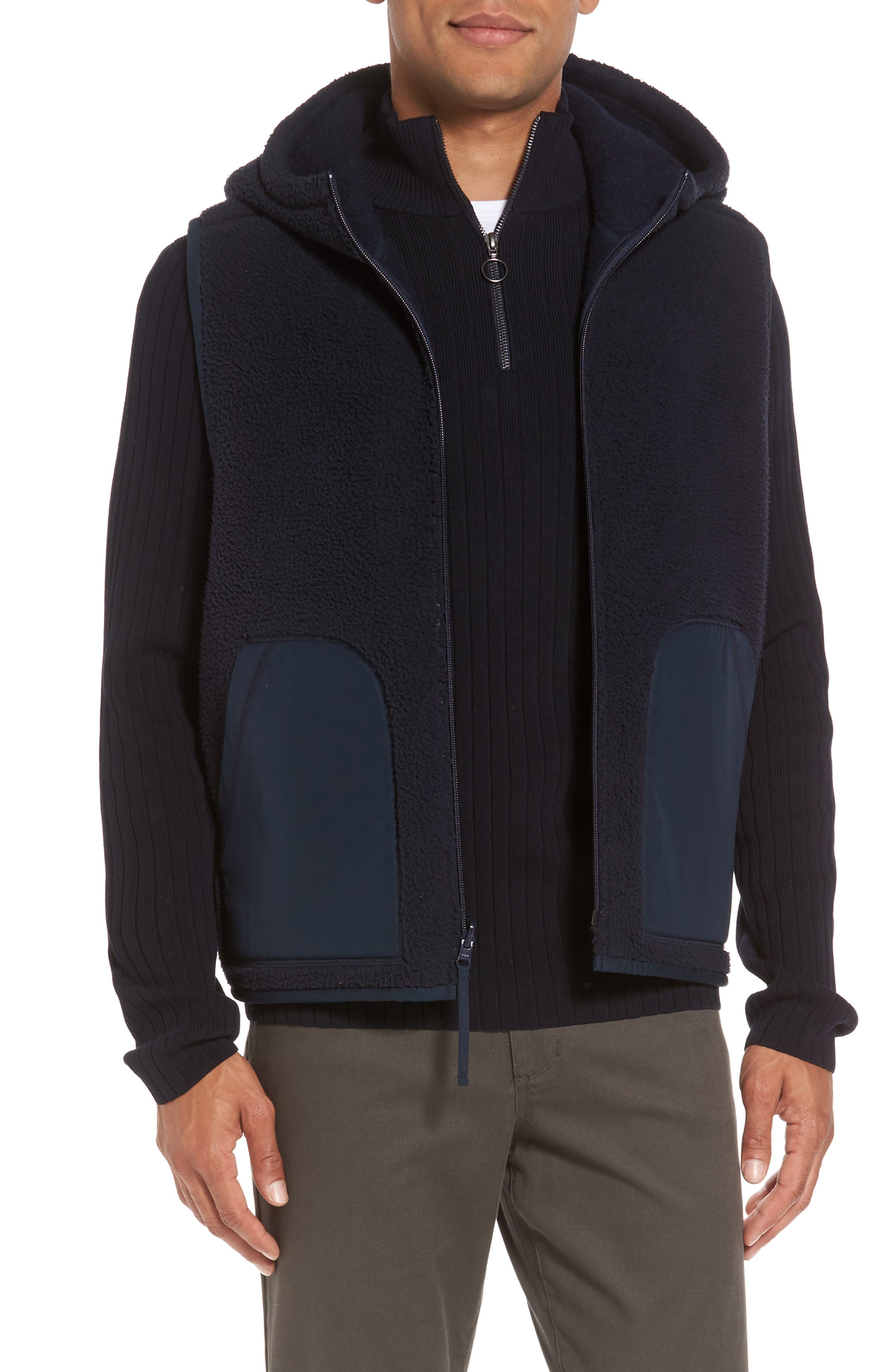Main Image - Vince Reversible Hooded Faux Shearling Vest