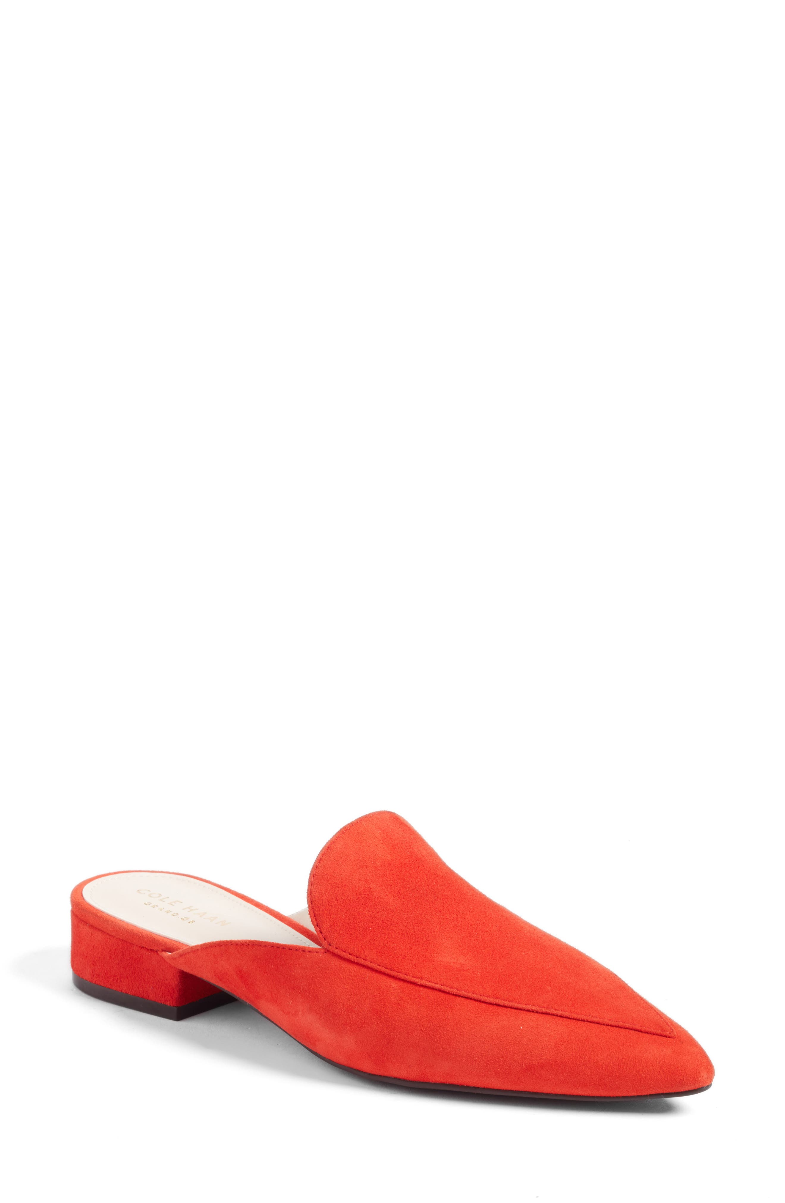 Piper Loafer Mule,                         Main,                         color, Fiery Red Suede