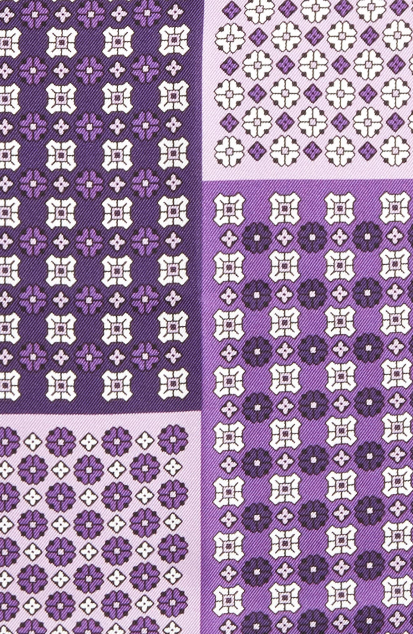 Medallion Silk Pocket Square,                             Alternate thumbnail 3, color,                             Purple
