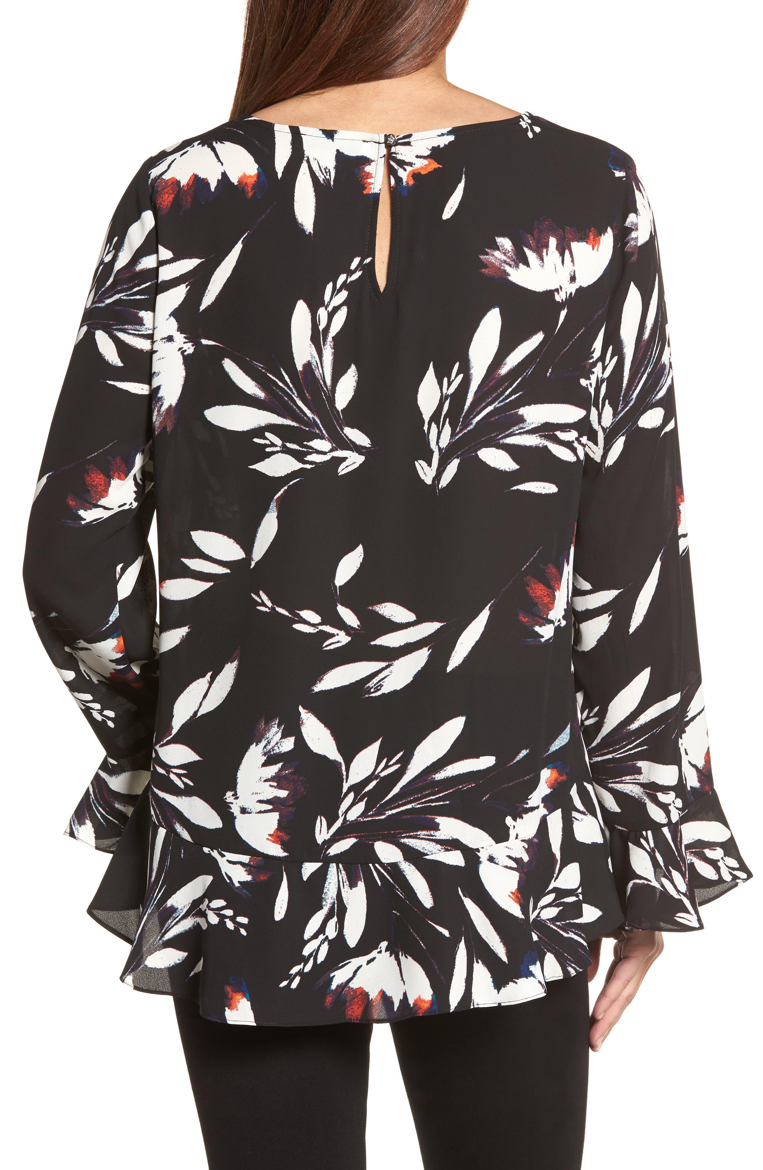 Floral Vision Bell Sleeve Blouse,                             Alternate thumbnail 2, color,                             Rich Black