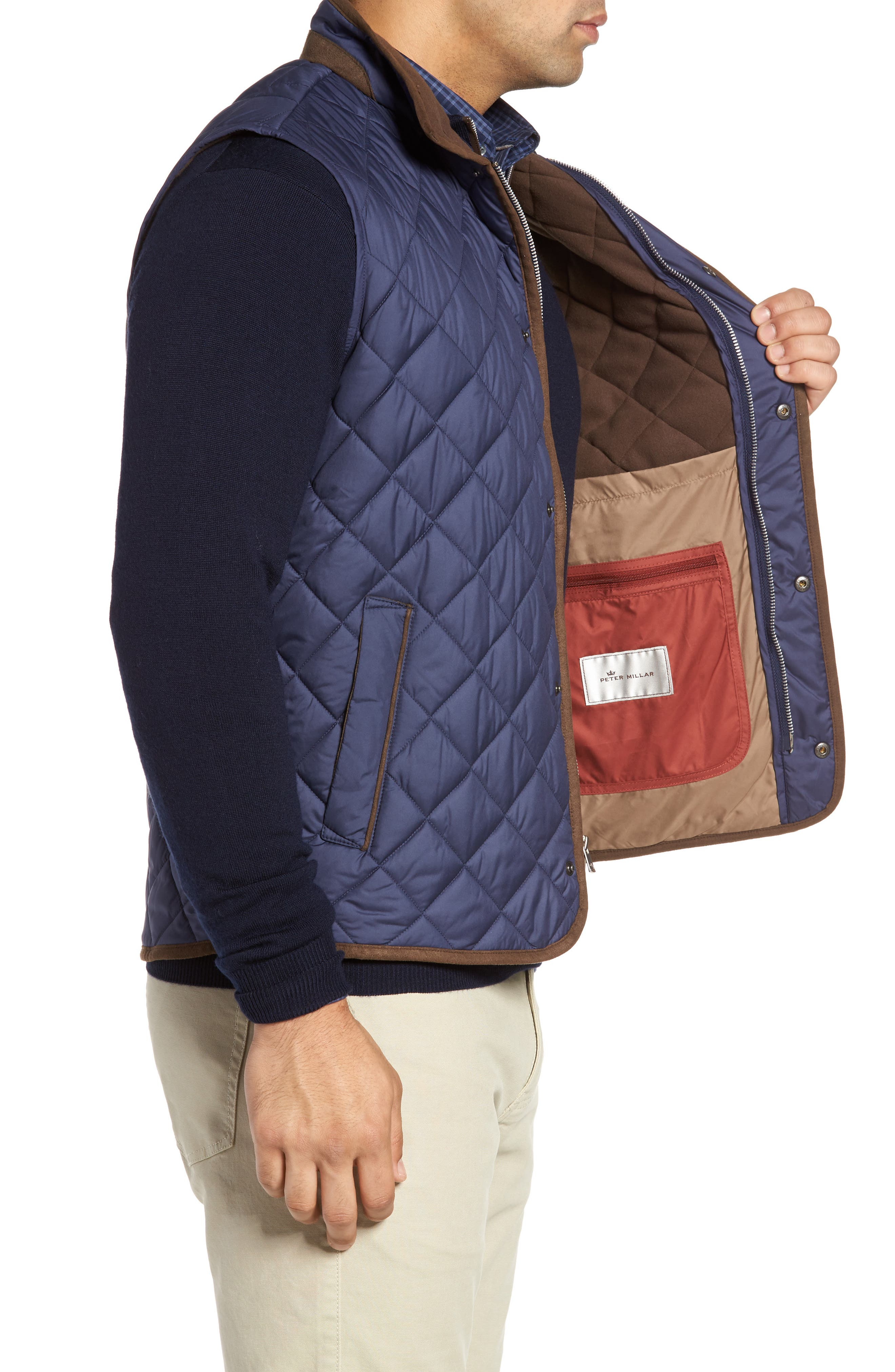 Essex Quilted Vest,                             Alternate thumbnail 3, color,                             Perfect Navy