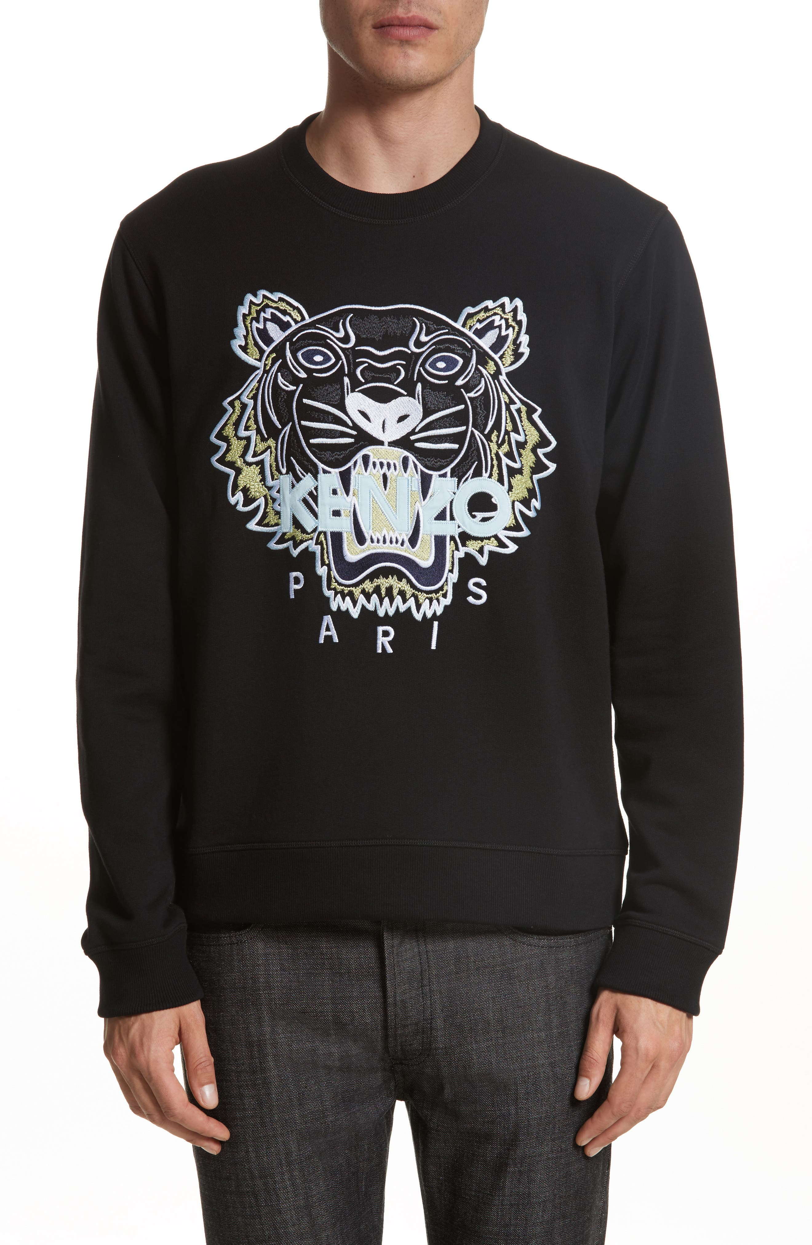Embroidered Graphic Sweatshirt,                         Main,                         color, Black