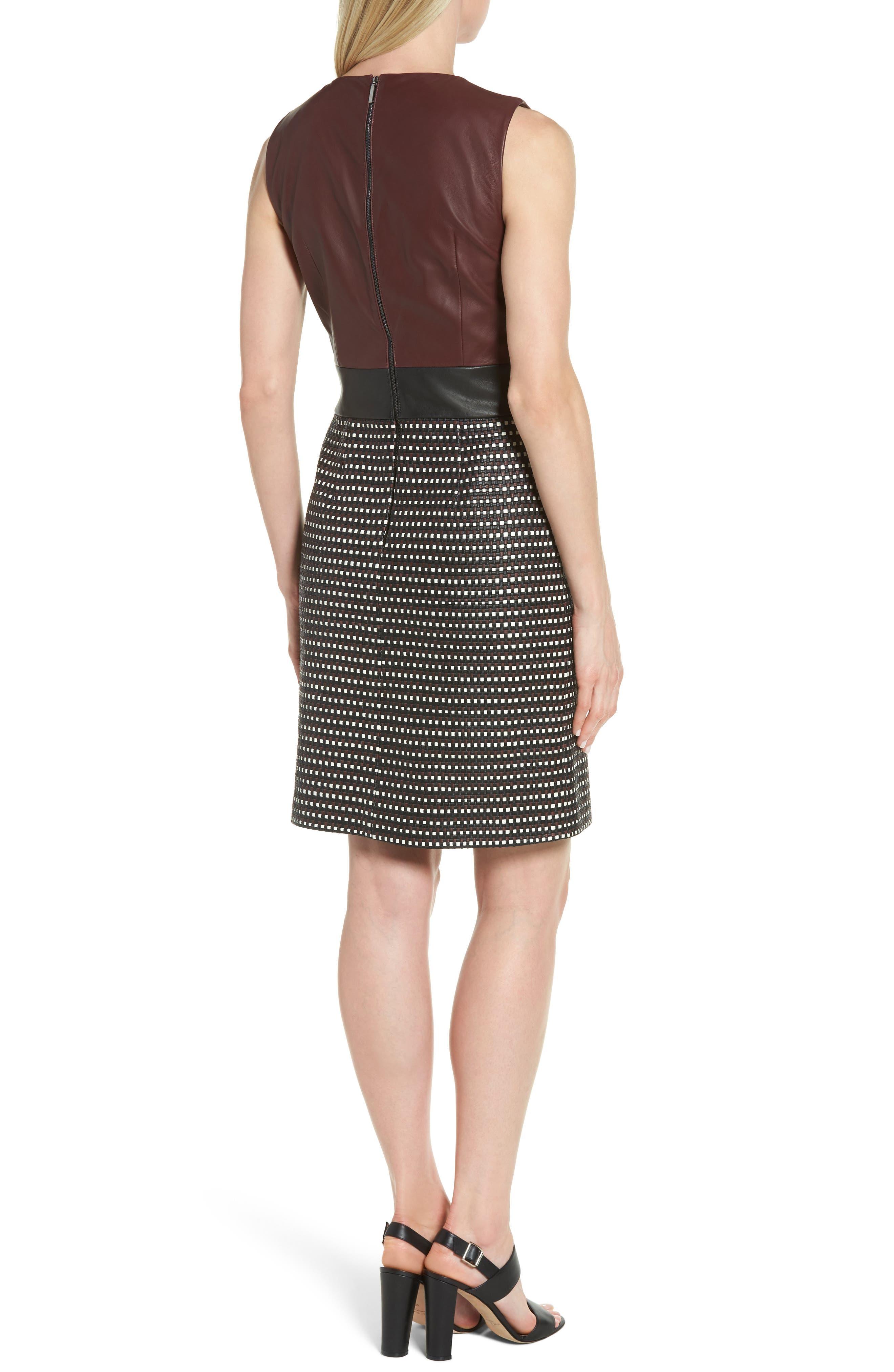 Syrina Leather Sheath Dress,                             Alternate thumbnail 2, color,                             Black/ Pomegranate