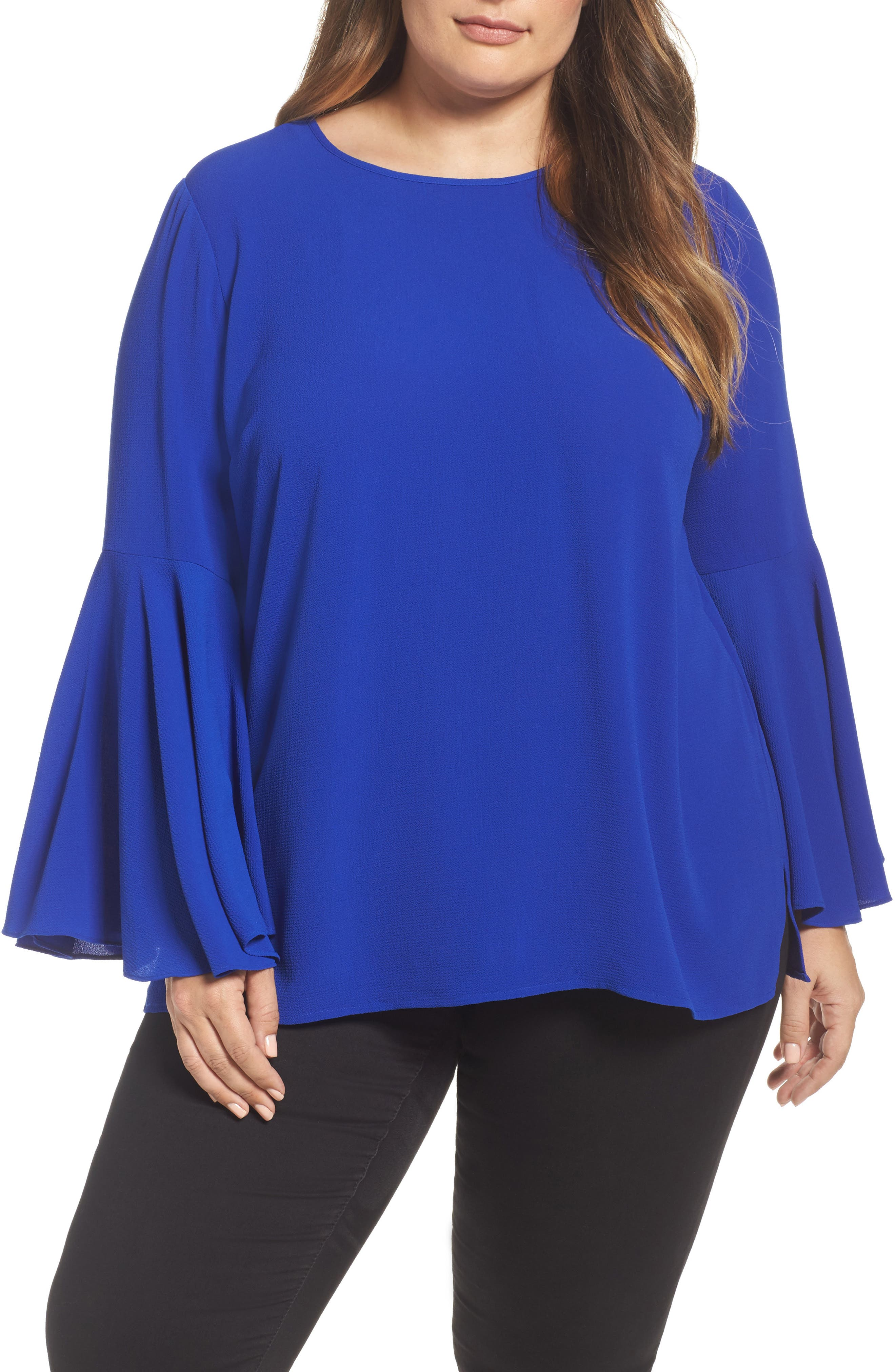 Bell Sleeve Blouse,                         Main,                         color, Vivid Blue