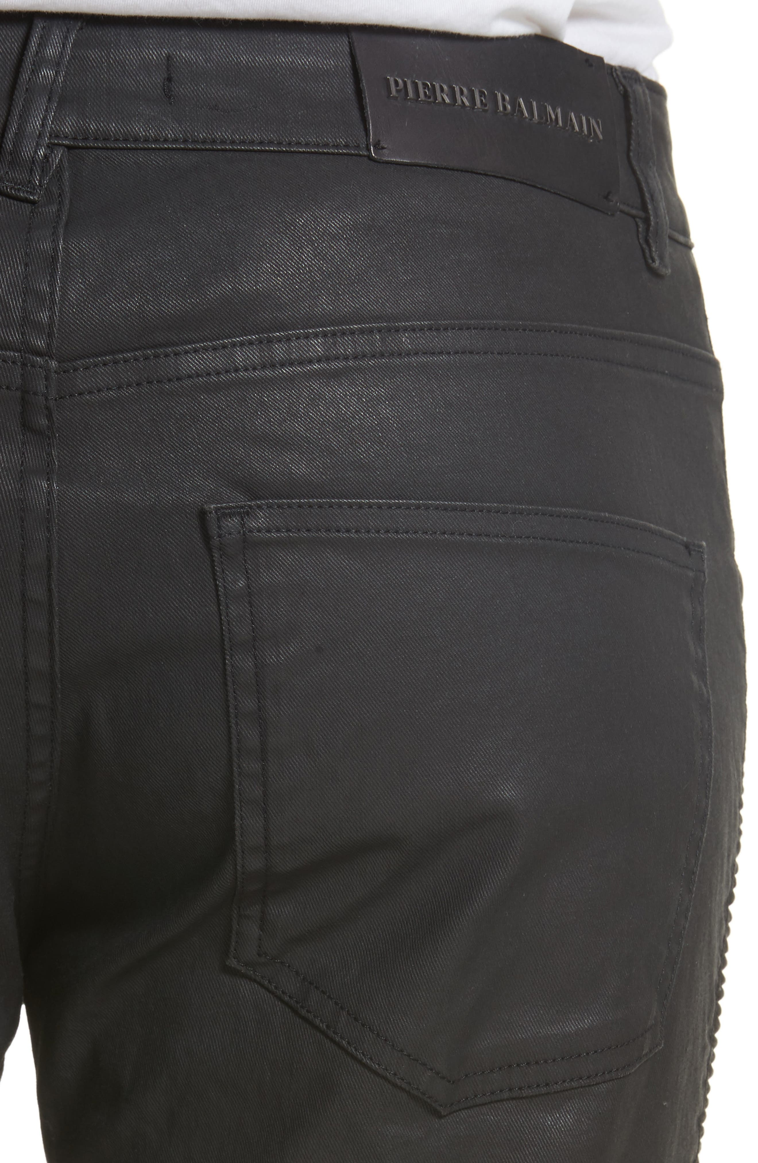Alternate Image 5  - Pierre Balmain Core Coated Moto Jeans