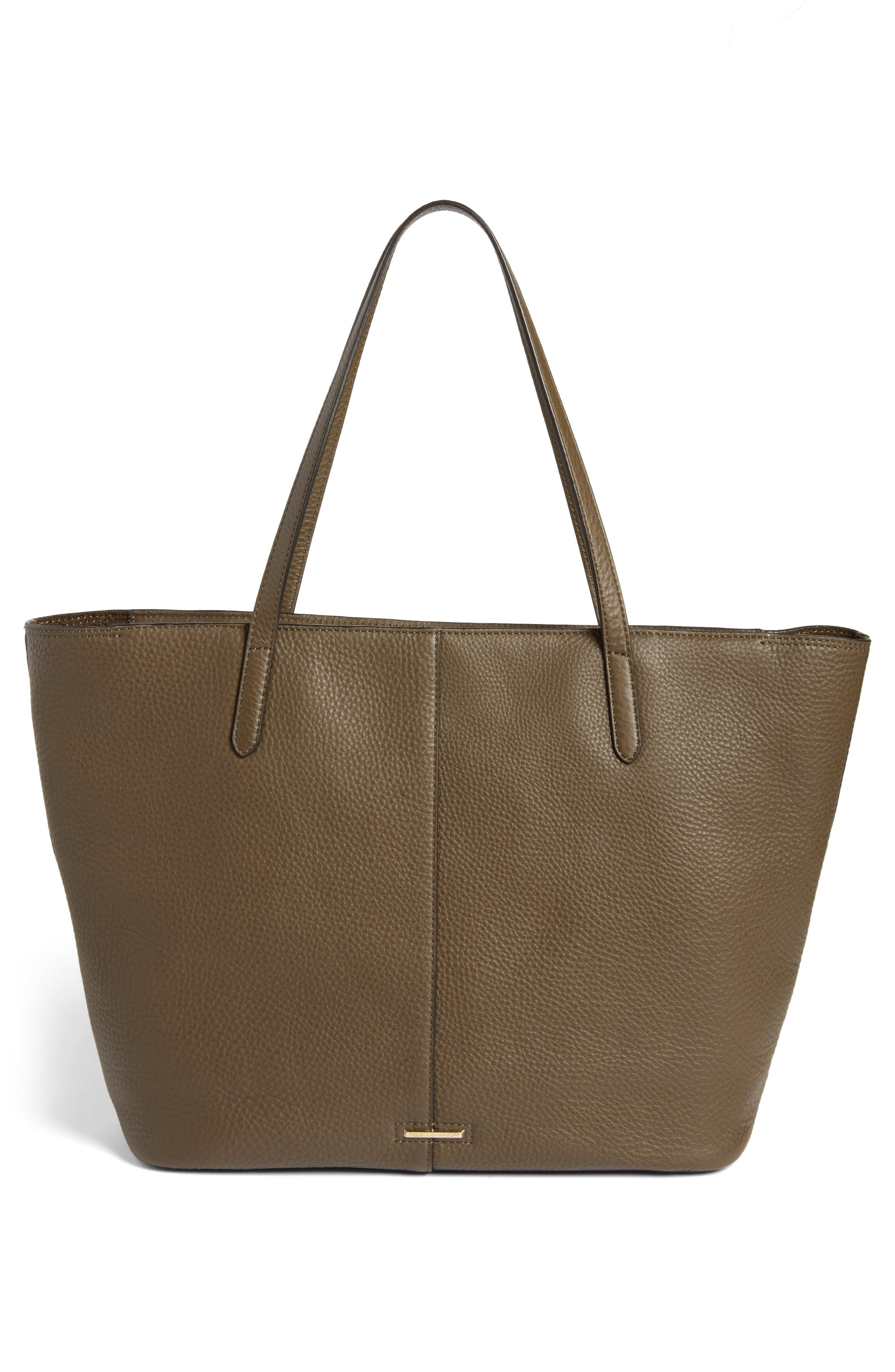 Unlined Front Pocket Leather Tote,                             Alternate thumbnail 3, color,                             Moss/ Light Gold Hardware