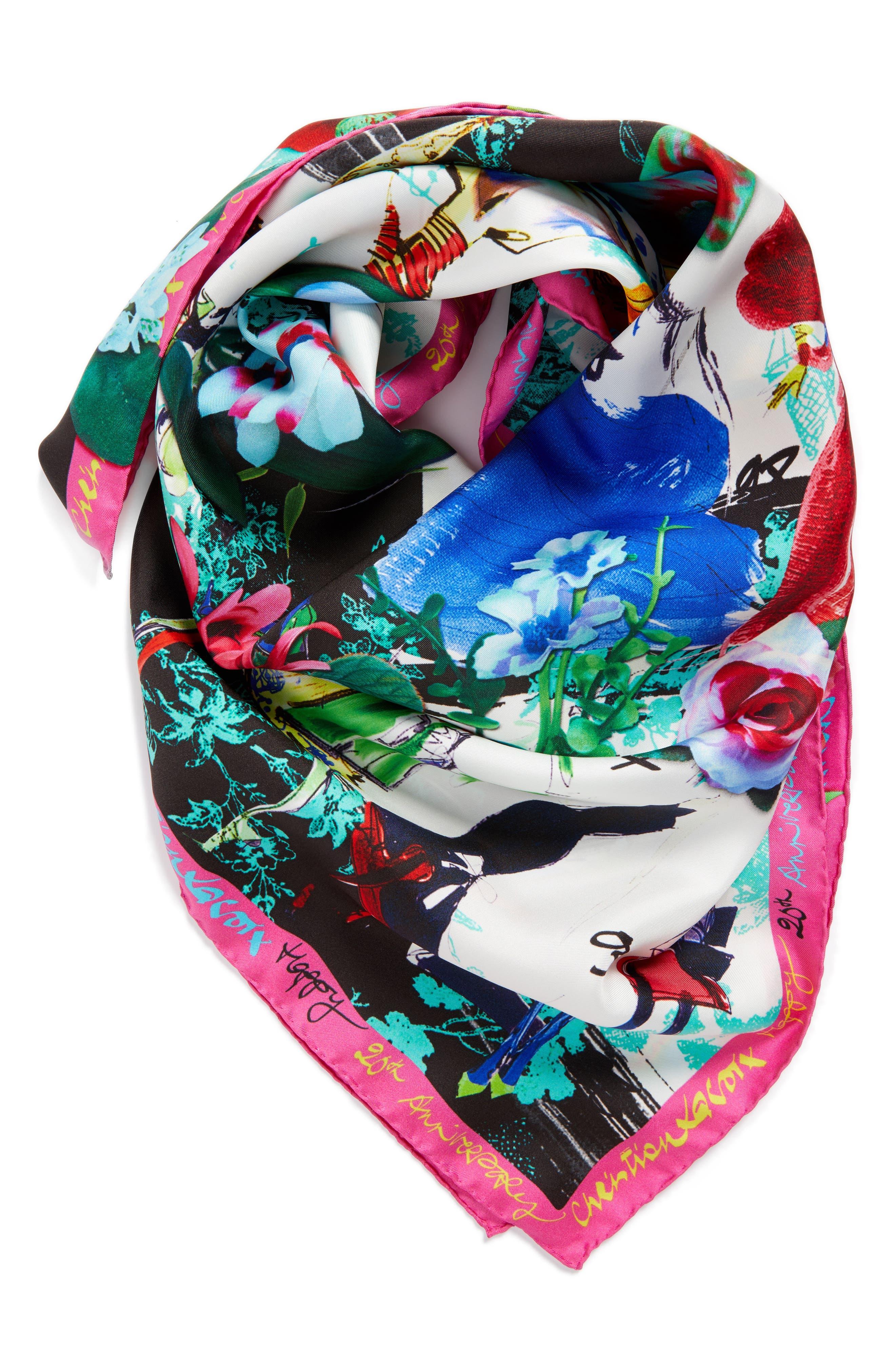 Alternate Image 4  - Christian Lacroix Les Filles en Fleur Square Silk Scarf