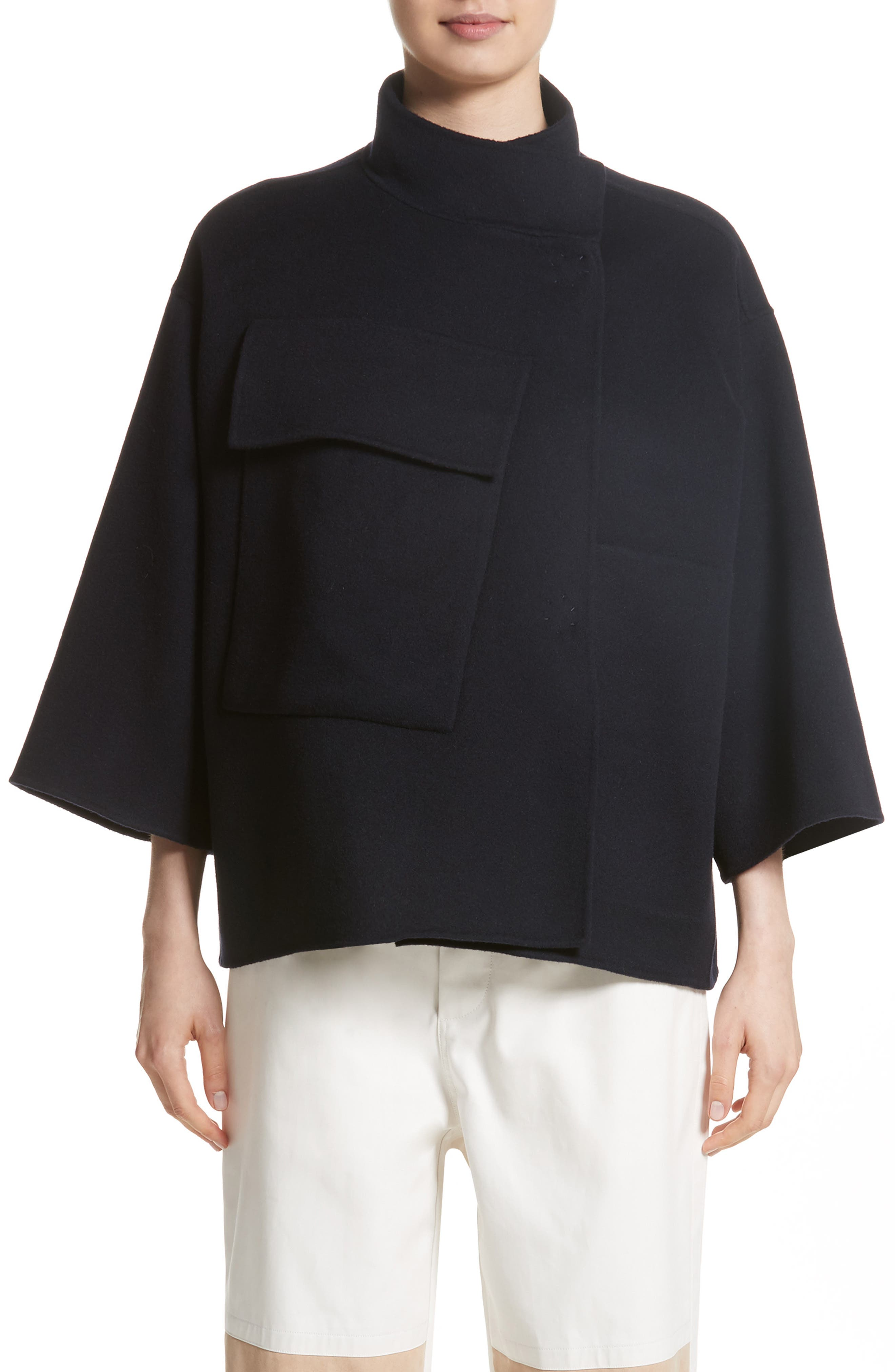 Crop Wool & Cashmere Jacket,                         Main,                         color, Navy