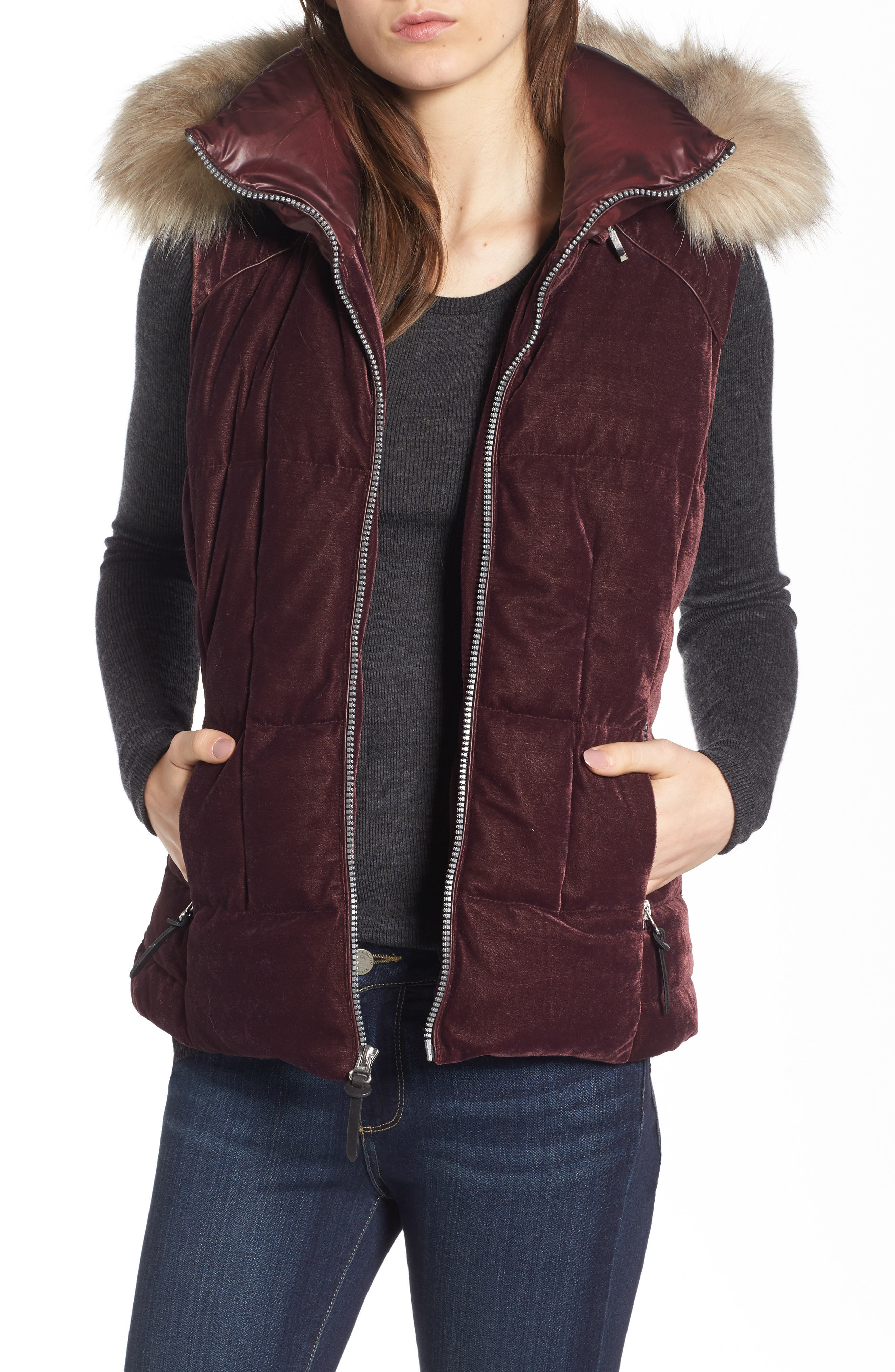 Andrew Marc Val Velvet Vest with Faux Fur Trim
