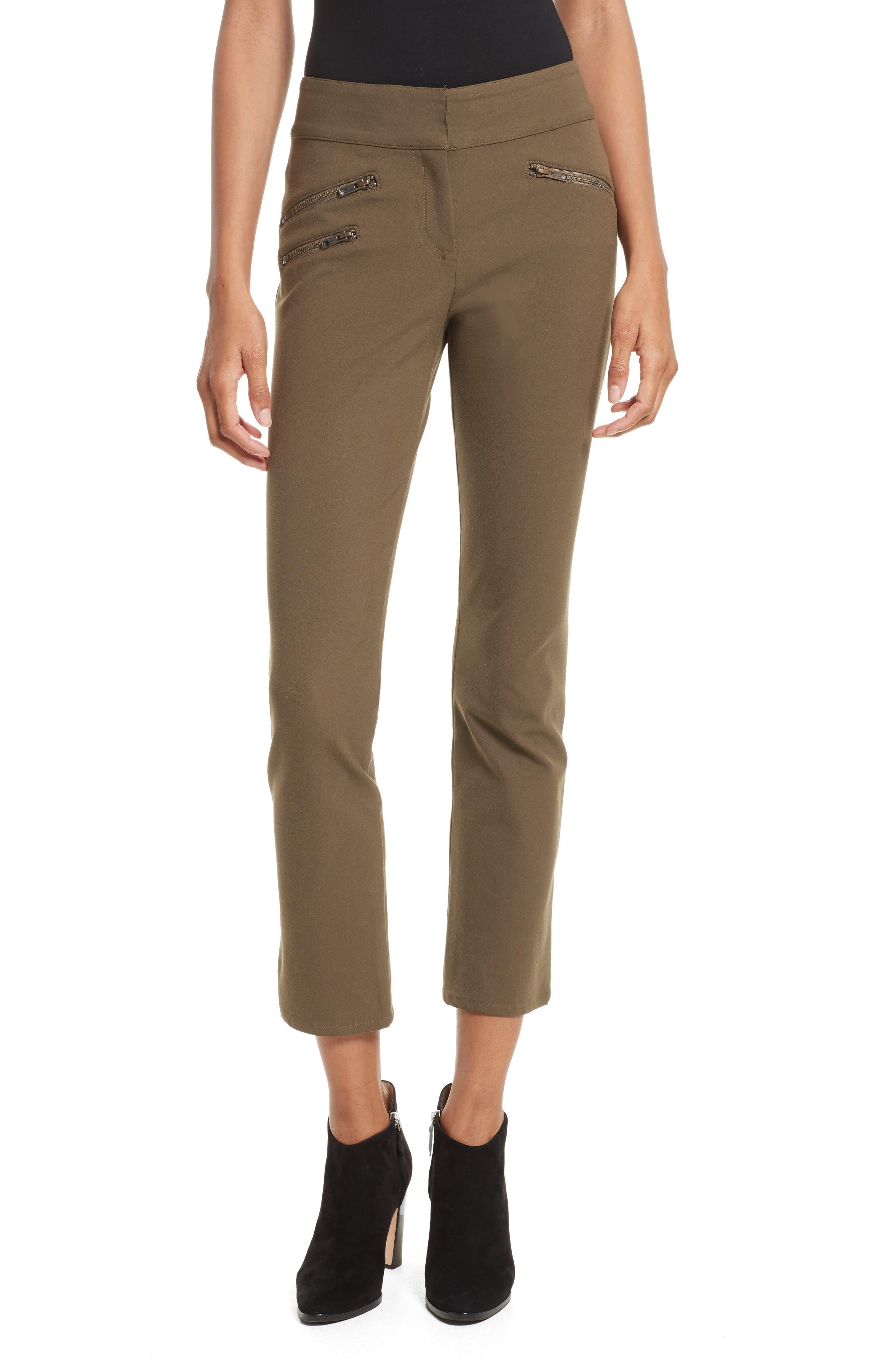 Main Image - Veronica Beard Adelaide Zipper Detail Crop Pants