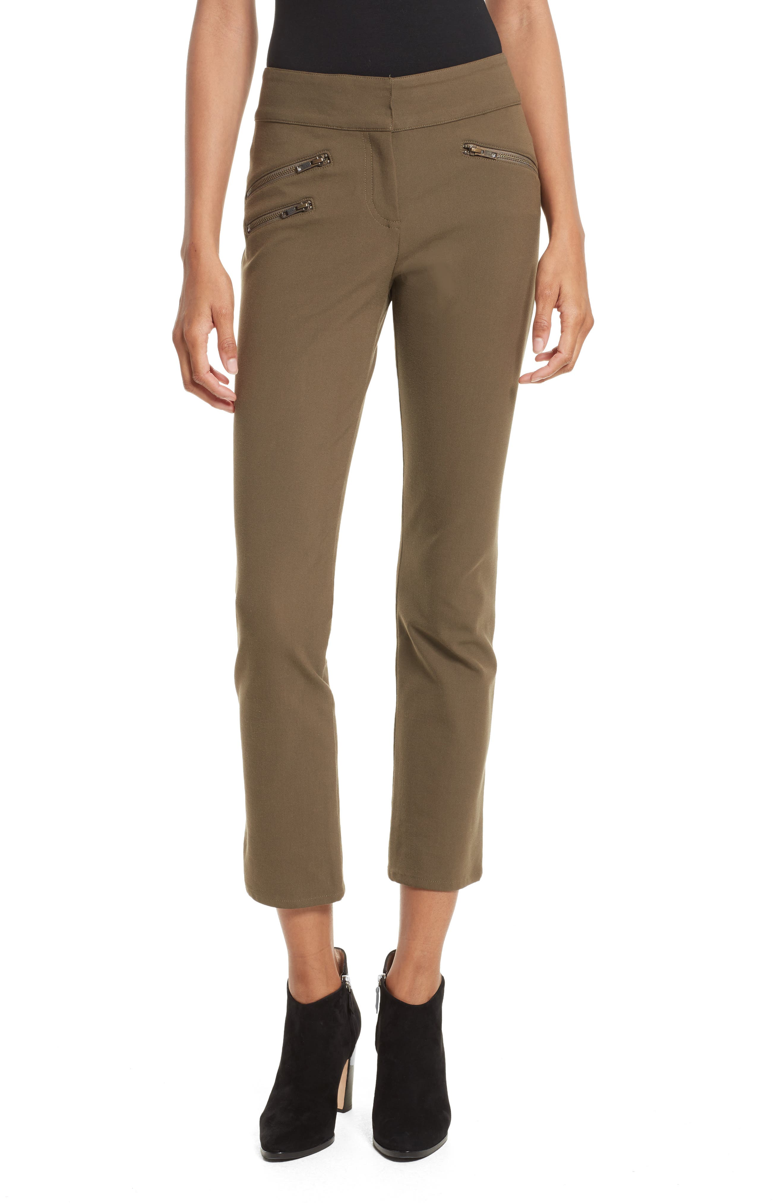 Adelaide Zipper Detail Crop Pants,                         Main,                         color, Army Green