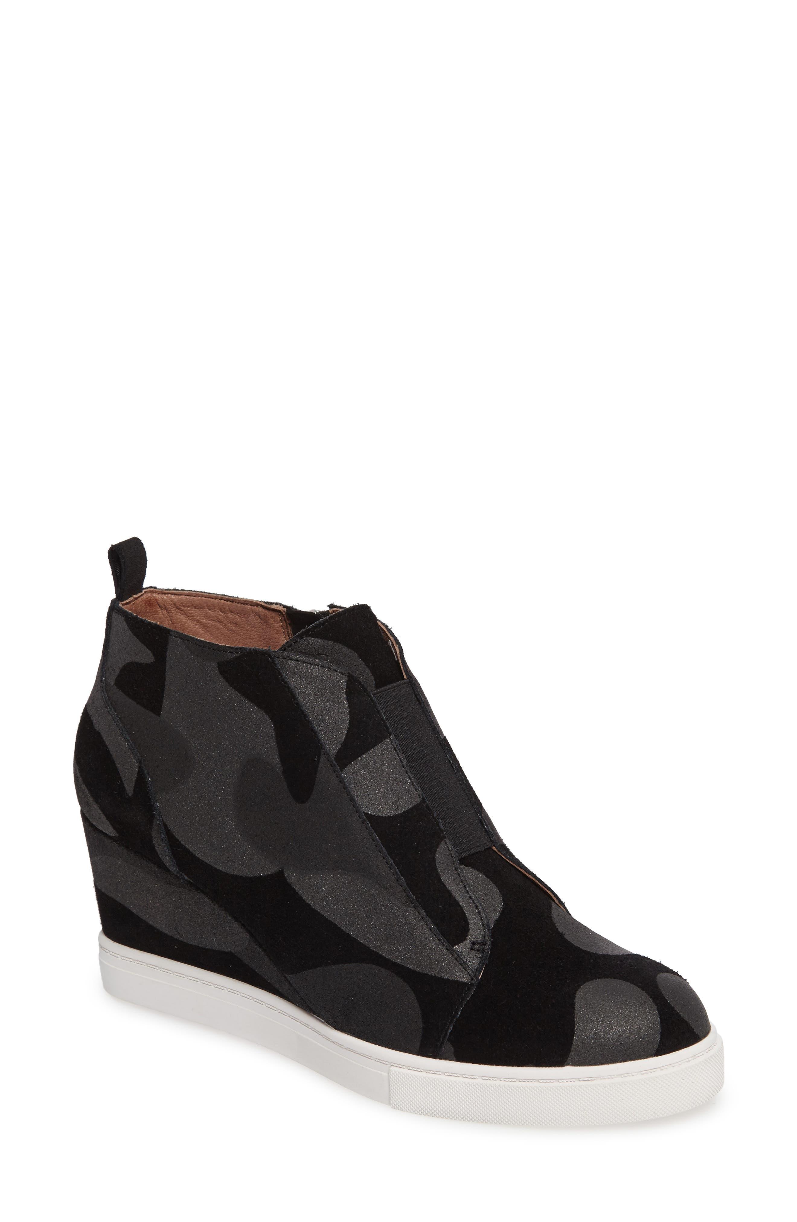 'Felicia' Wedge Bootie,                         Main,                         color, Black/ Dark Grey Print Suede