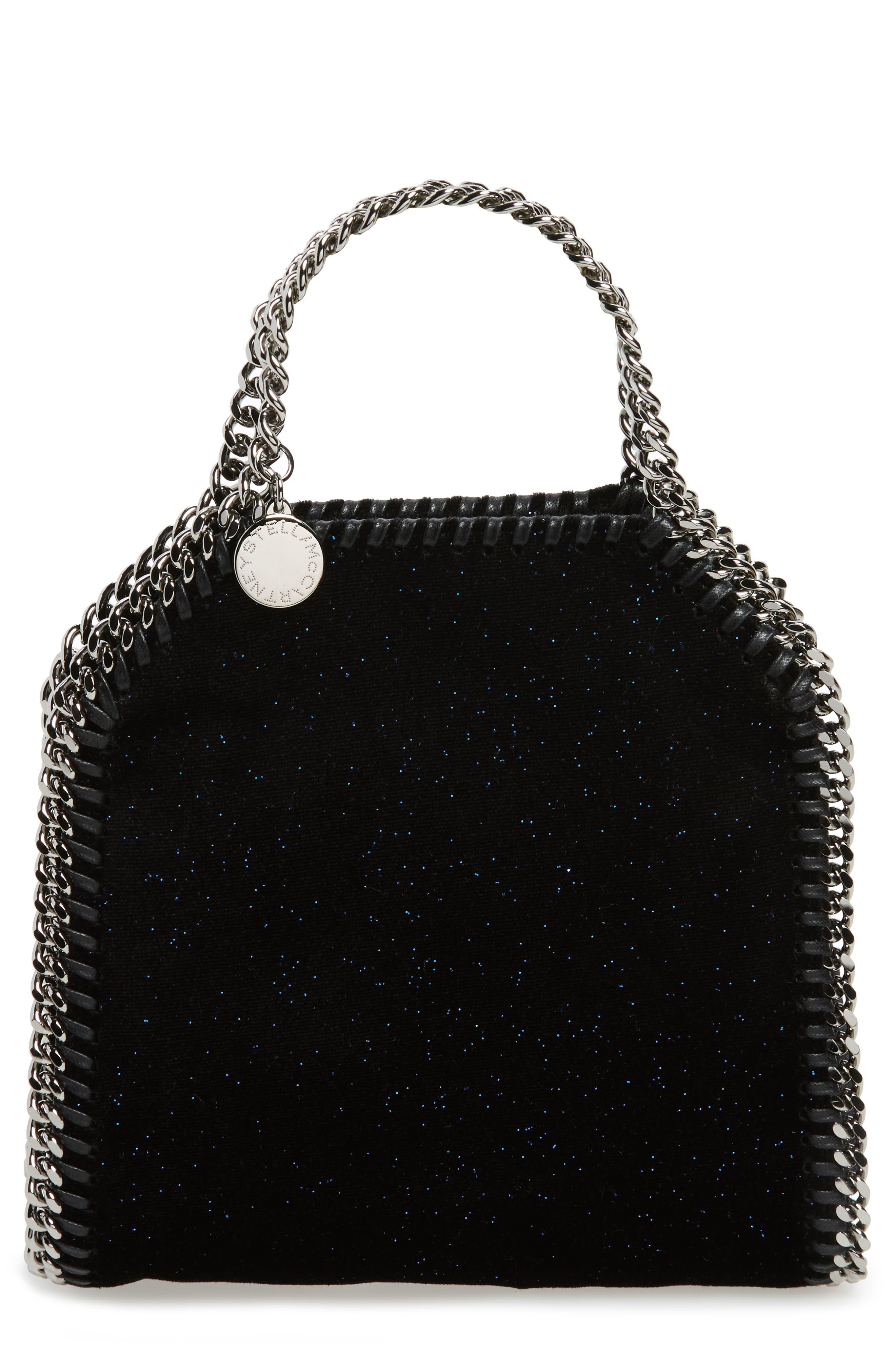 Tiny Falabella Glitter Crossbody Bag,                             Main thumbnail 1, color,                             Black/ Navy