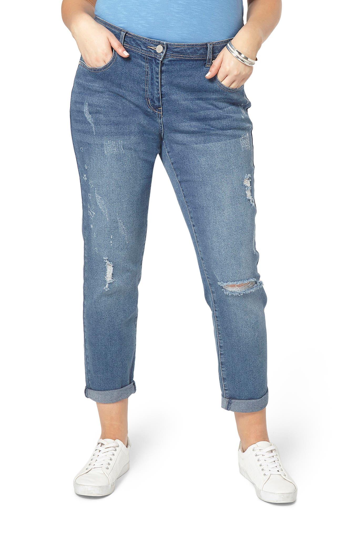 Evans Doodle Boyfriend Jeans (Plus Size)