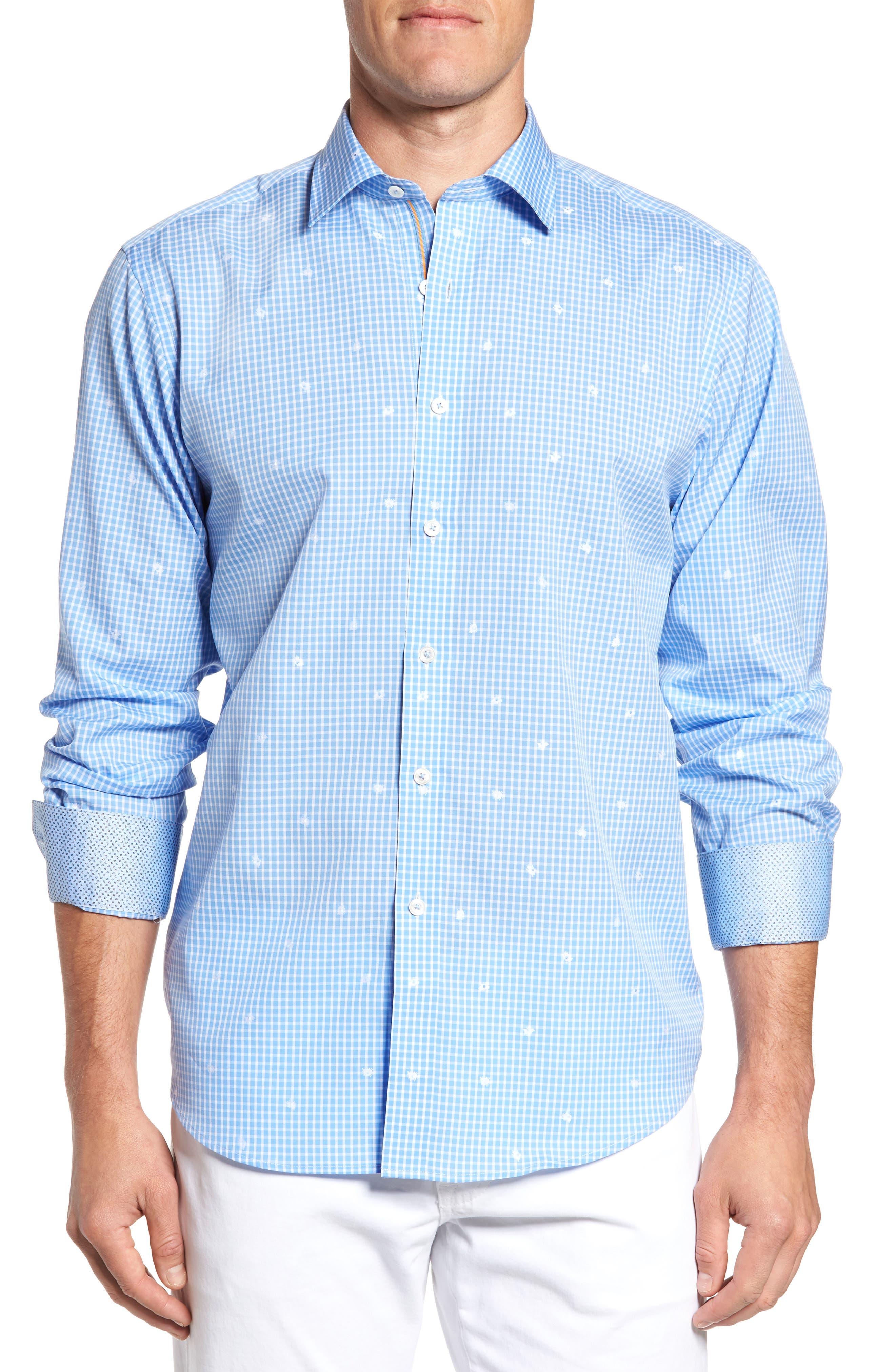 Classic Fit Windowpane Sport Shirt,                         Main,                         color, Air Blue