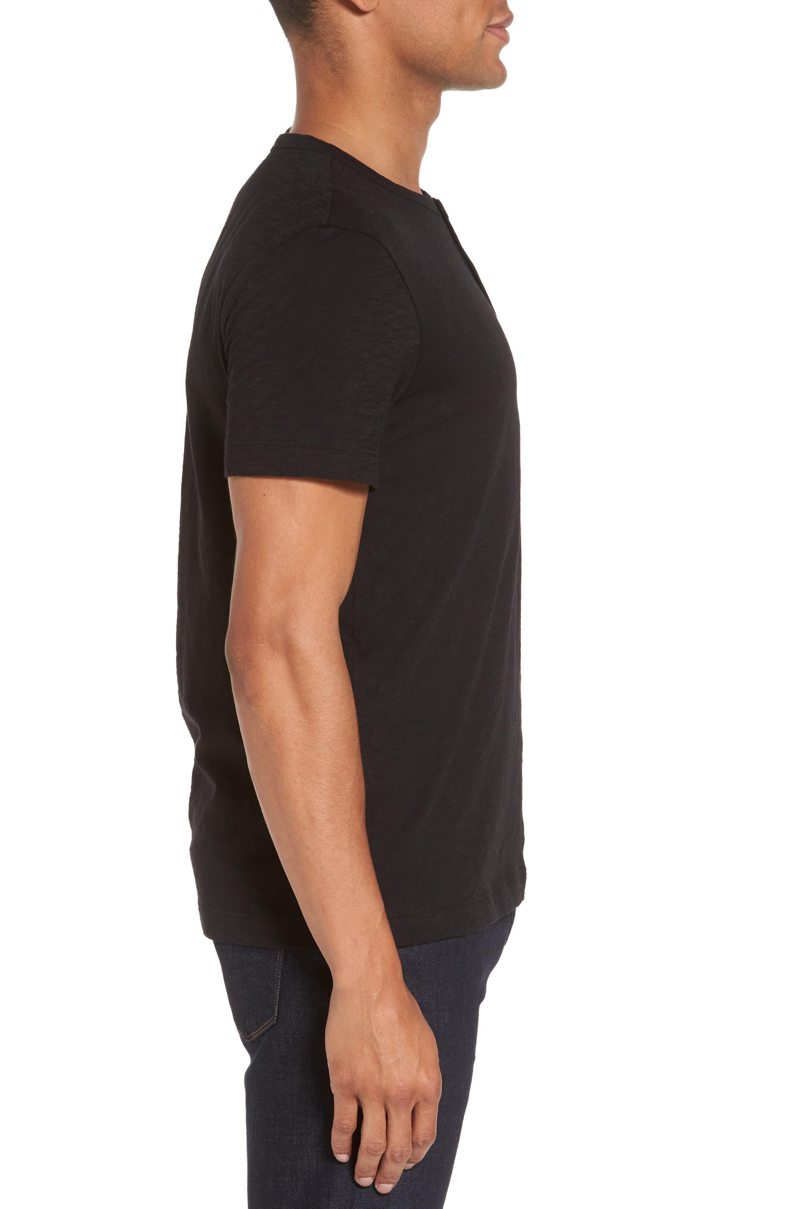 Gaskell Henley T-Shirt,                             Alternate thumbnail 3, color,                             Black