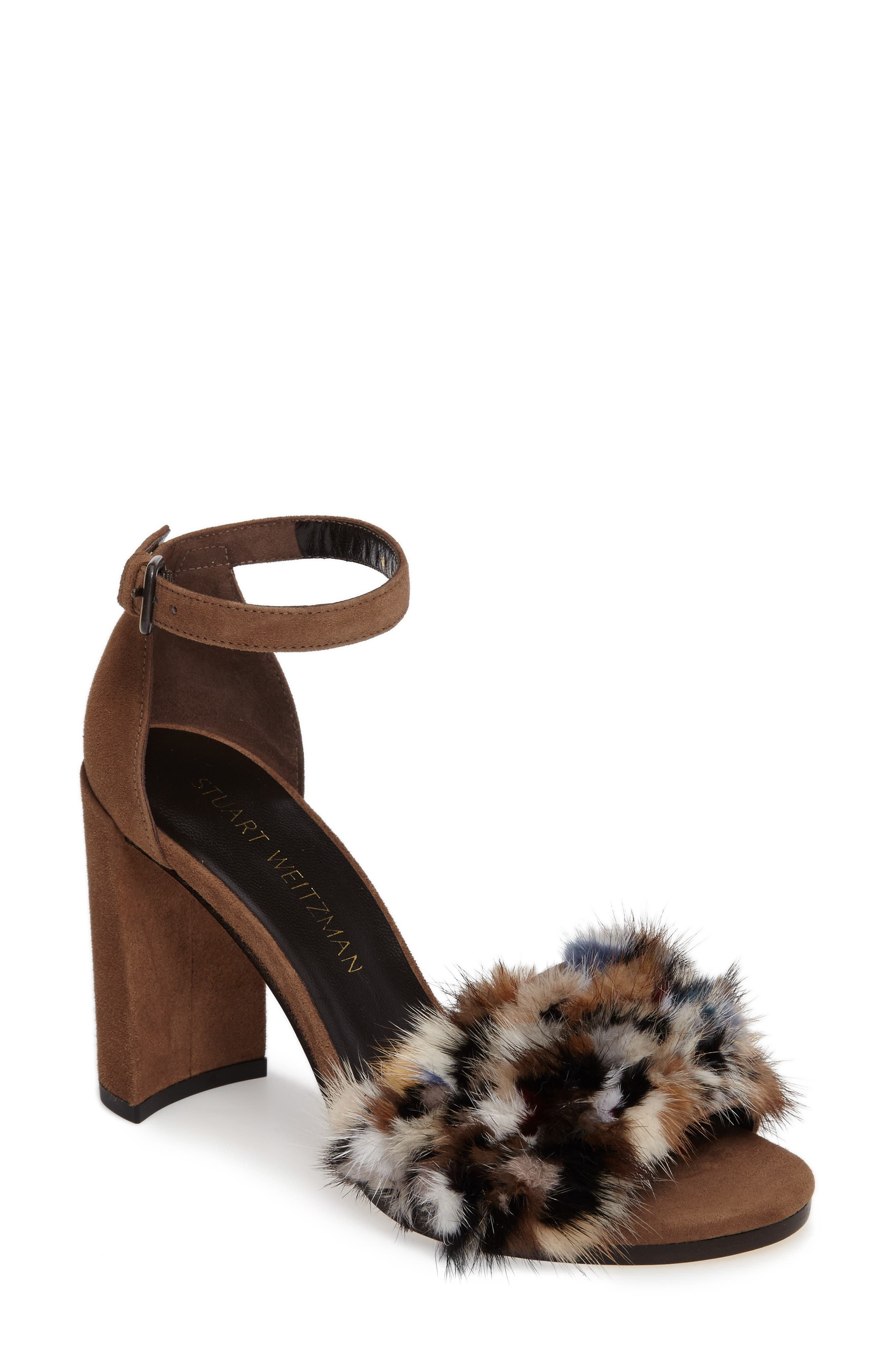 Stuart Weitzman Icelandia Genuine Mink Fur Sandal (Women)